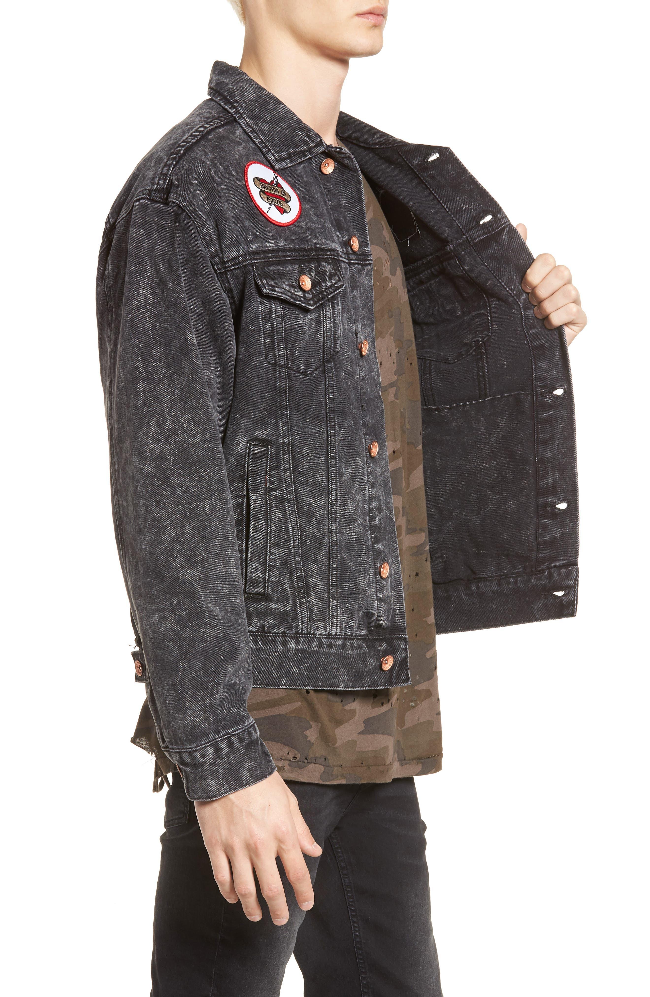 Billy Joel At the Garden Denim Jacket,                             Alternate thumbnail 3, color,                             Black Acid