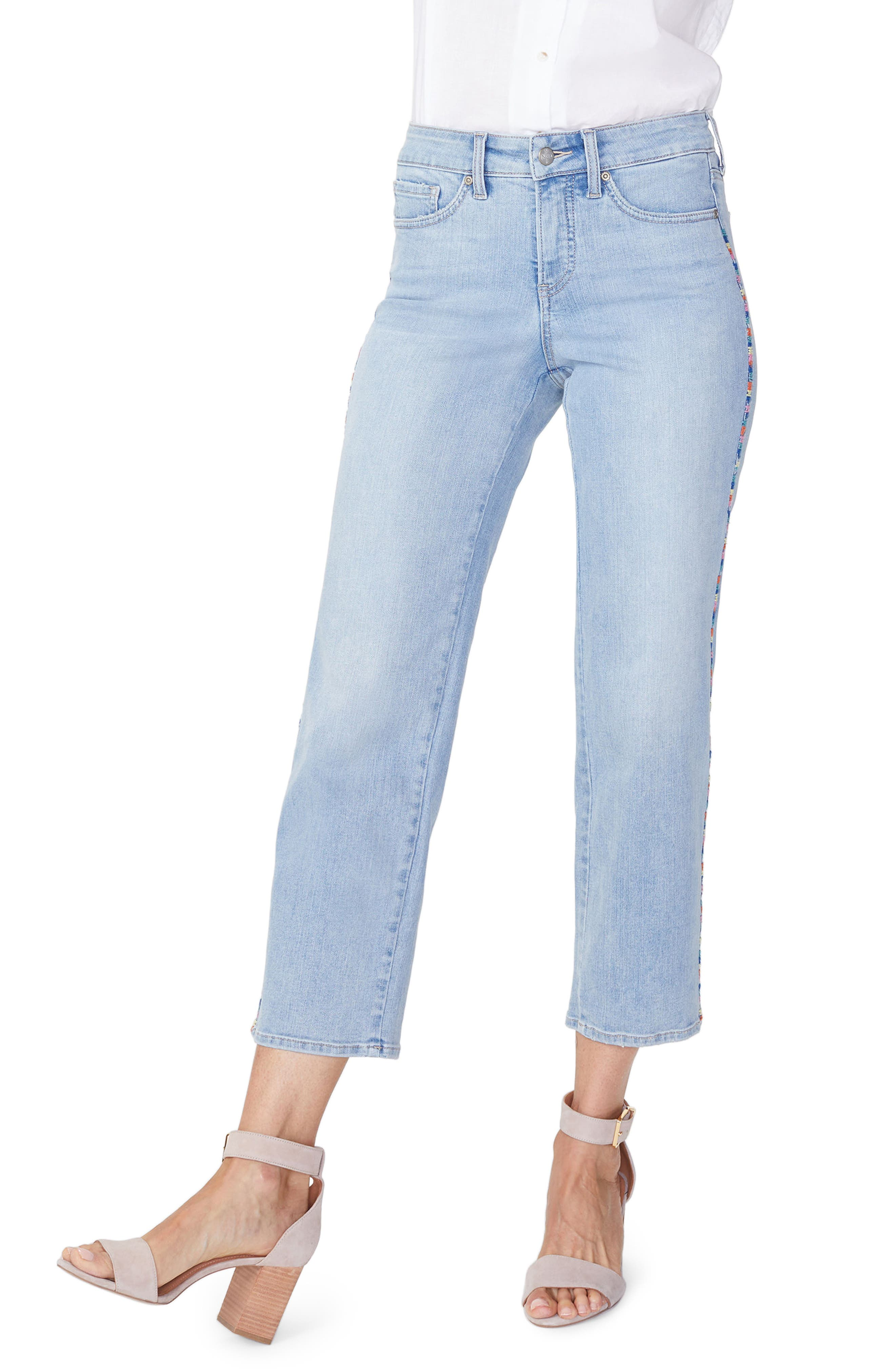 Jenna Embroidered Seam Ankle Straight Leg Jeans,                         Main,                         color, Clean Cloud Nine