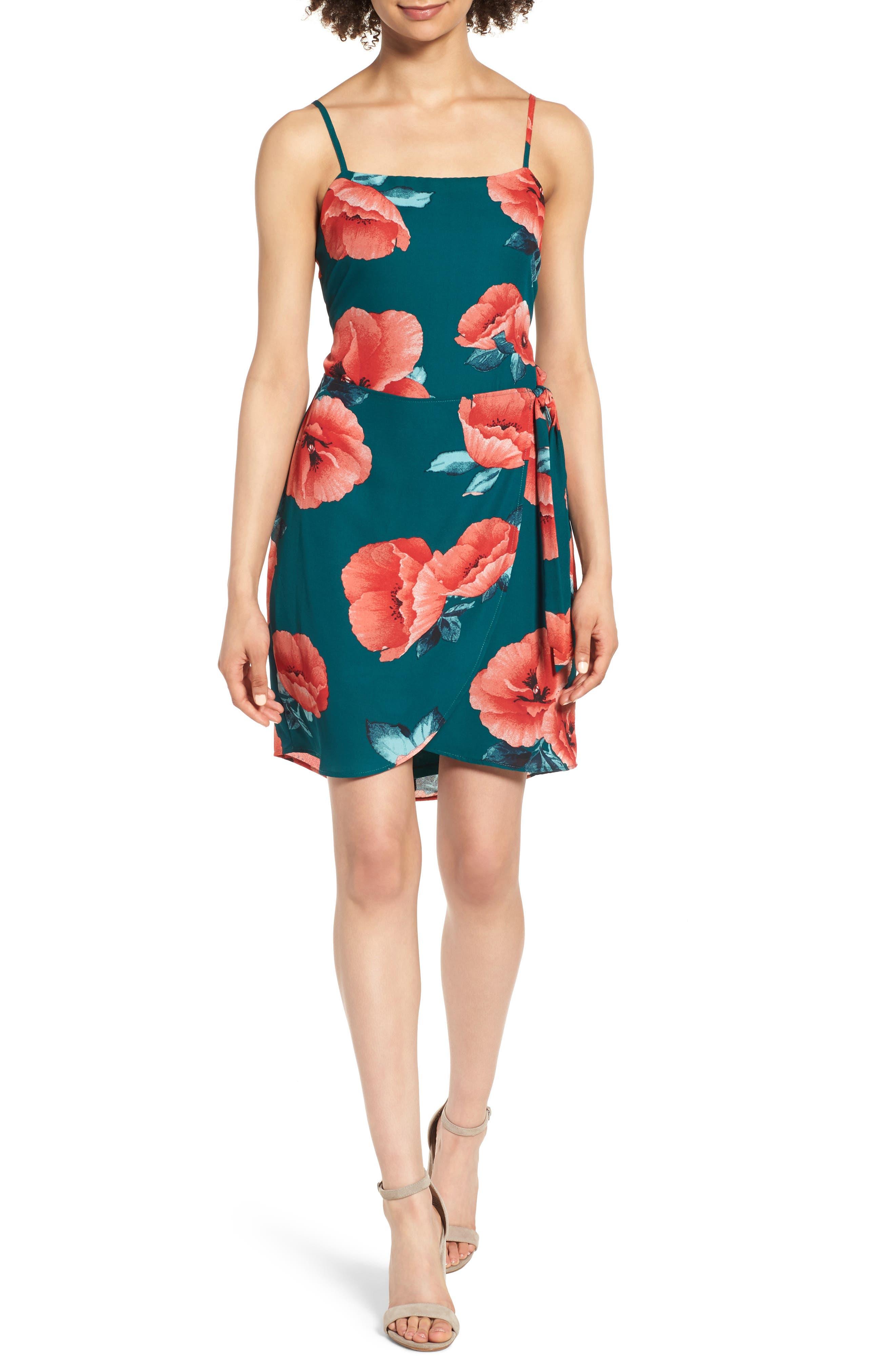 Floral Print Minidress,                         Main,                         color, Teal Floral