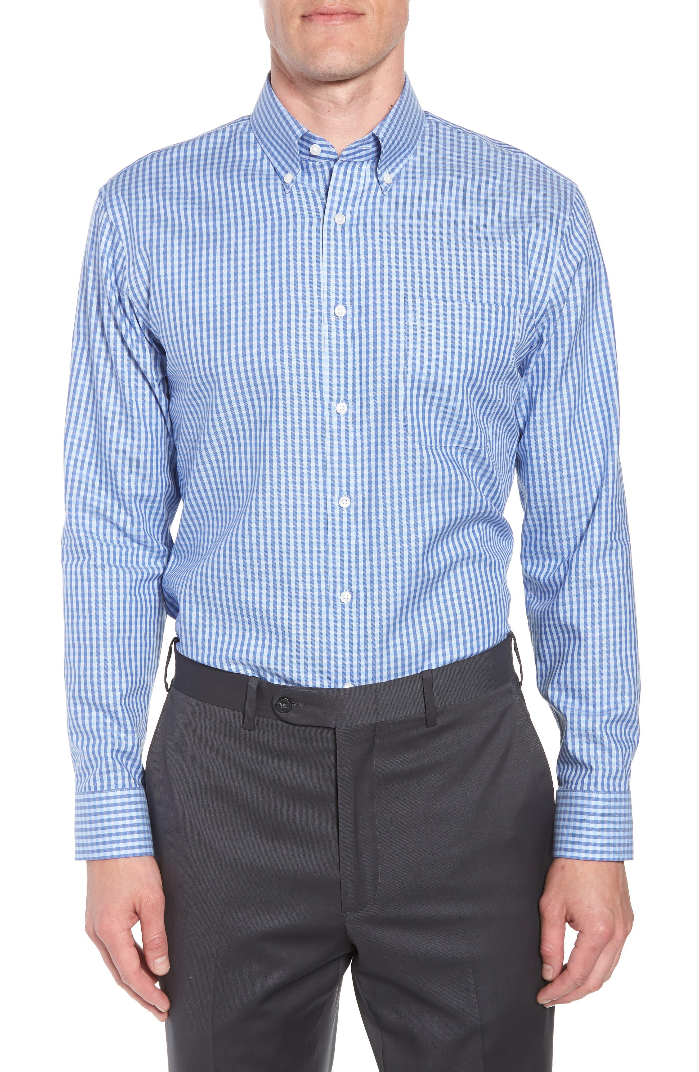 Trim Fit Non-Iron Gingham Dress Shirt,                         Main,                         color, Blue Hydrangea