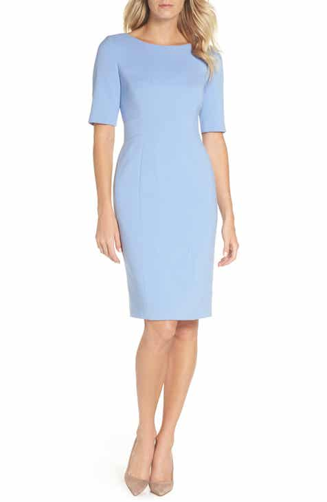 68078776bb708 Eliza J Bateau Neck Crepe Sheath Dress