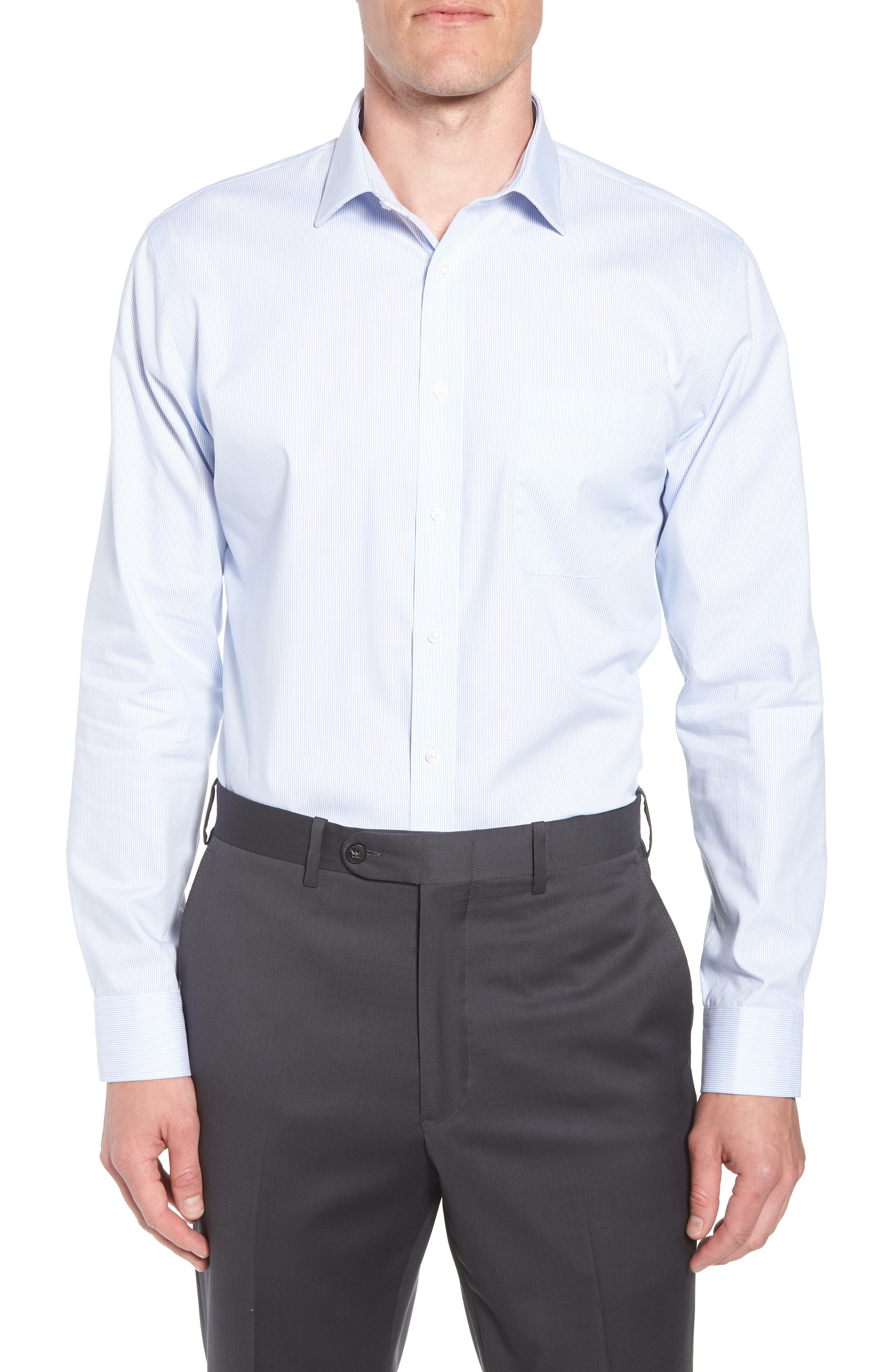 Trim Fit Non-Iron Stripe Dress Shirt,                             Main thumbnail 1, color,                             Blue Vista