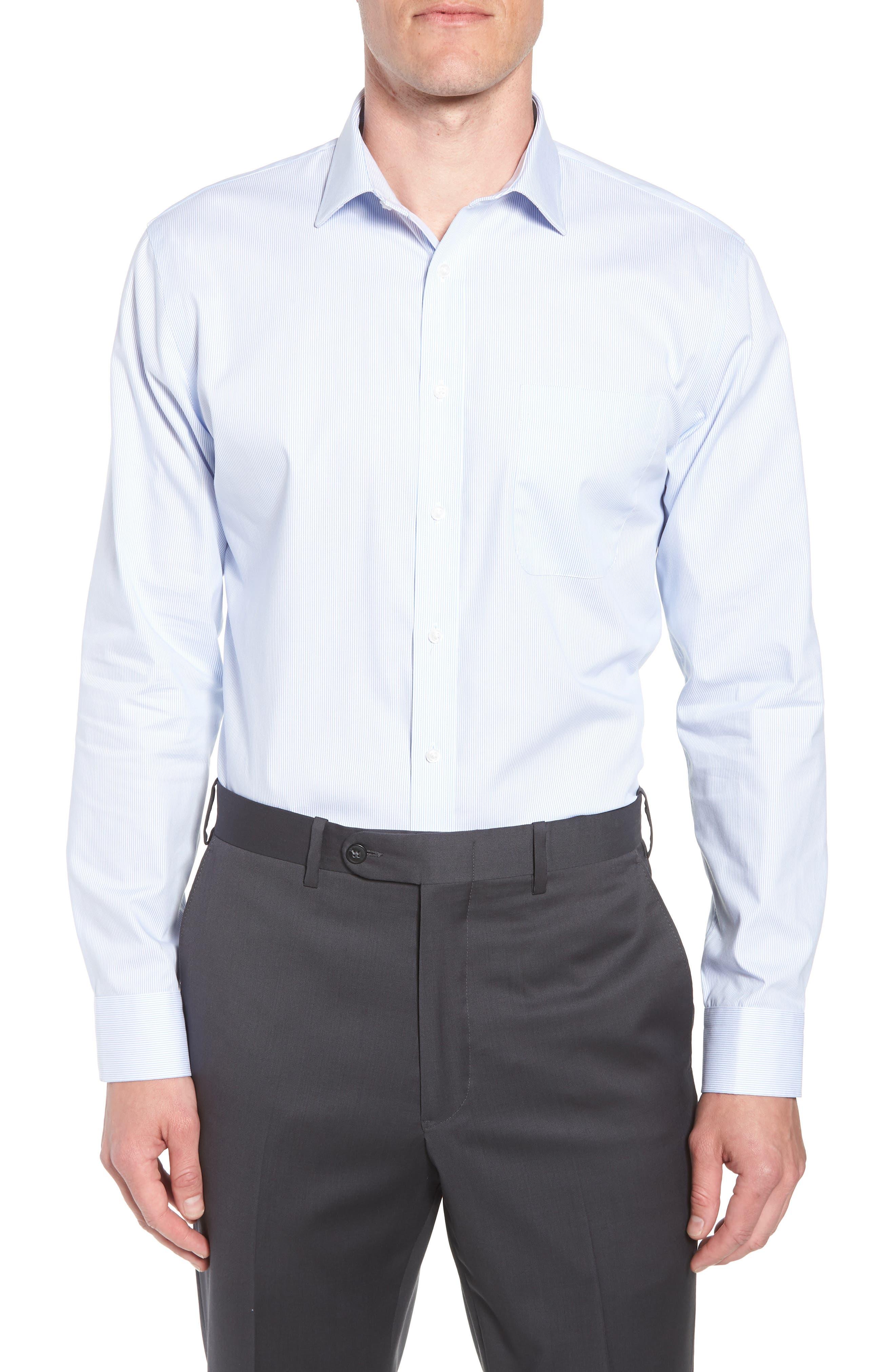Trim Fit Non-Iron Stripe Dress Shirt,                         Main,                         color, Blue Vista