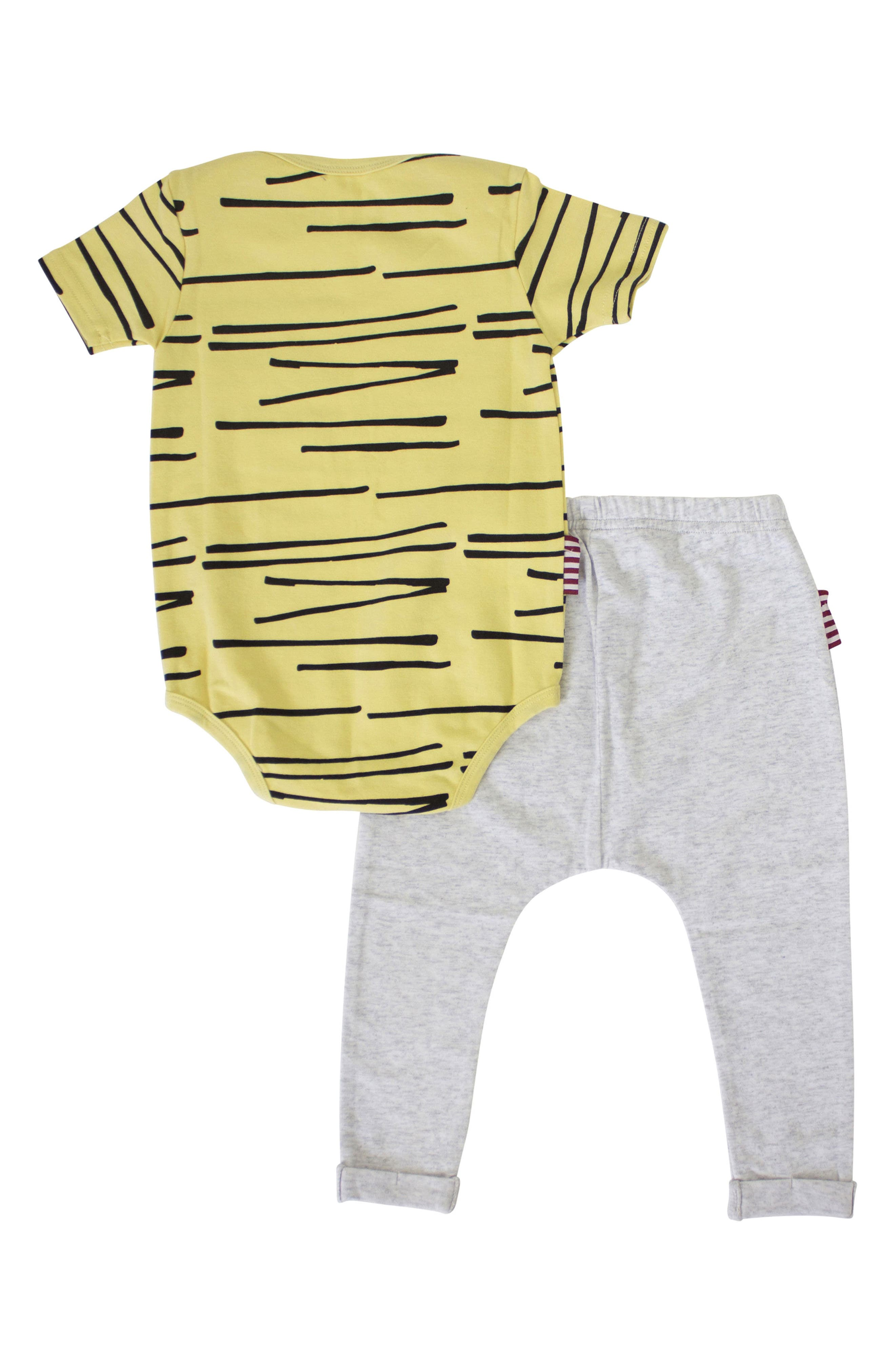 Cool Cat Bodysuit & Leggings Set,                             Alternate thumbnail 2, color,                             Yelllow/ Grey
