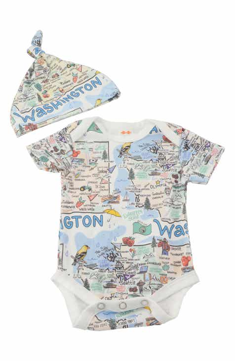 d696fb4c407 Fish Kiss State Map Print Organic Cotton Bodysuit   Hat