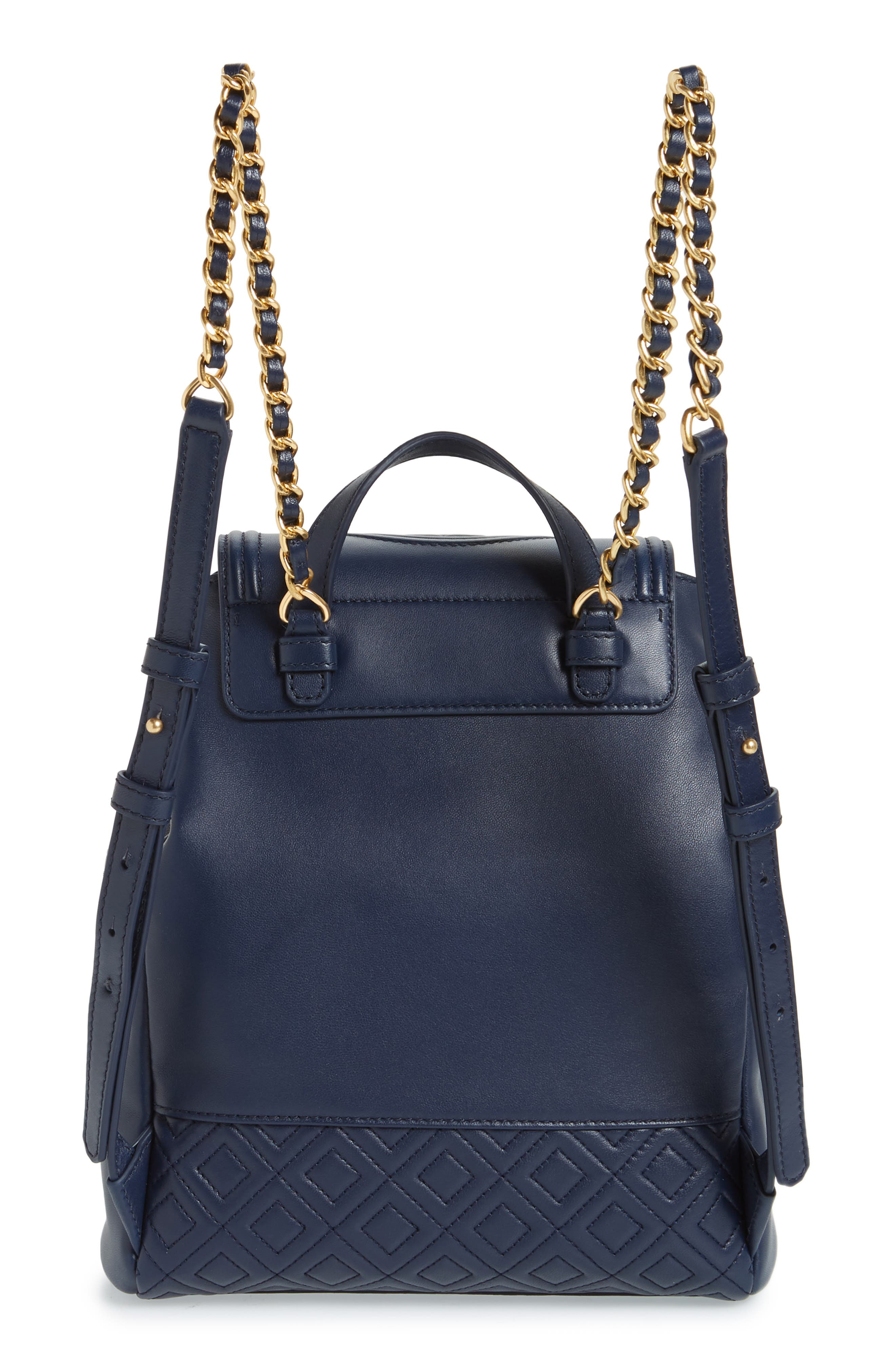 Fleming Lambskin Leather Backpack,                             Alternate thumbnail 3, color,                             Royal Navy