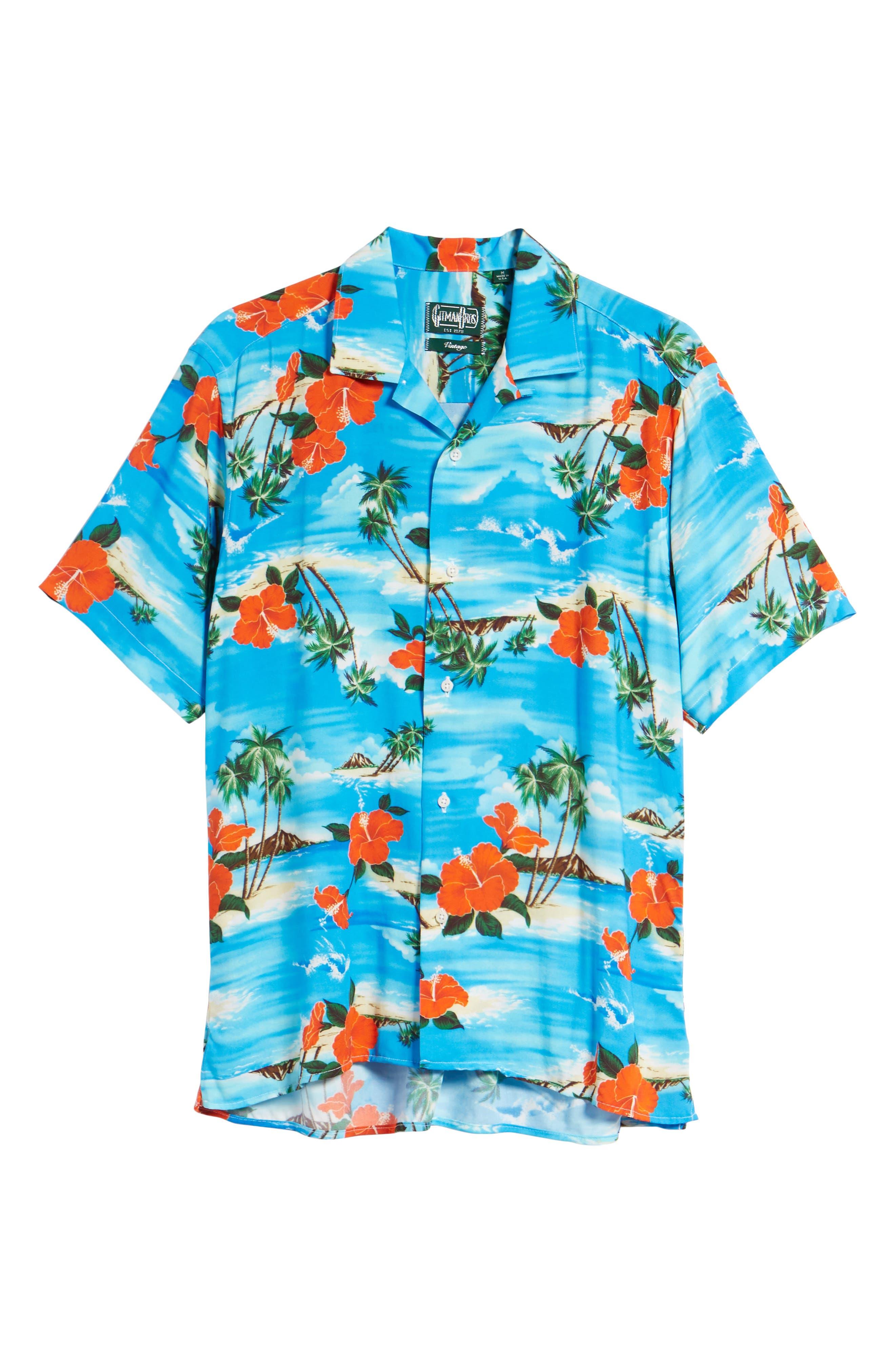 Regular Fit Print Camp Shirt,                             Alternate thumbnail 6, color,                             Blue Aloha