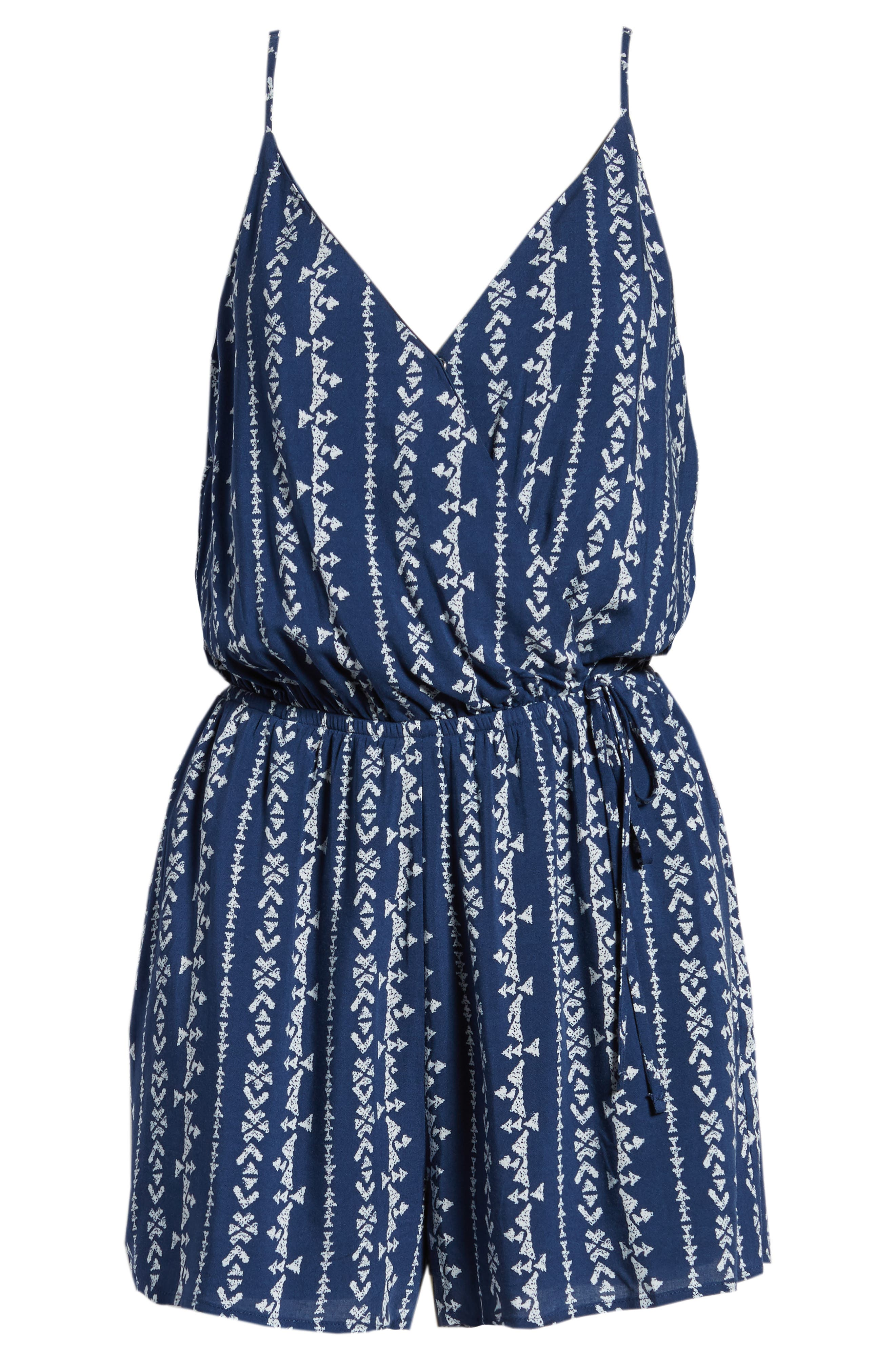 Surplice Romper,                             Alternate thumbnail 7, color,                             Navy Blue Stripe