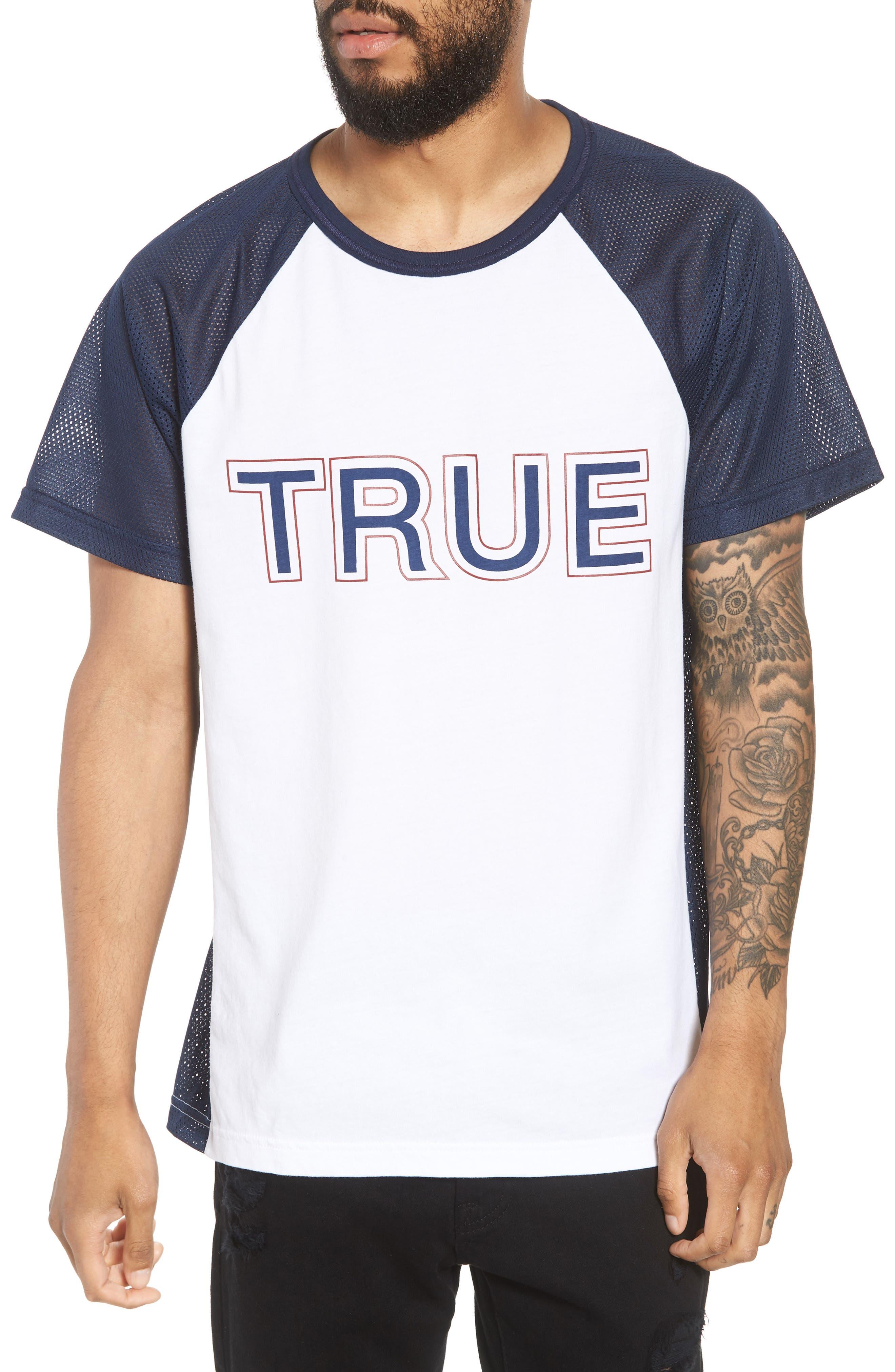 Contrast Raglan T-Shirt,                         Main,                         color, Ace Blue/ Optic White Combo