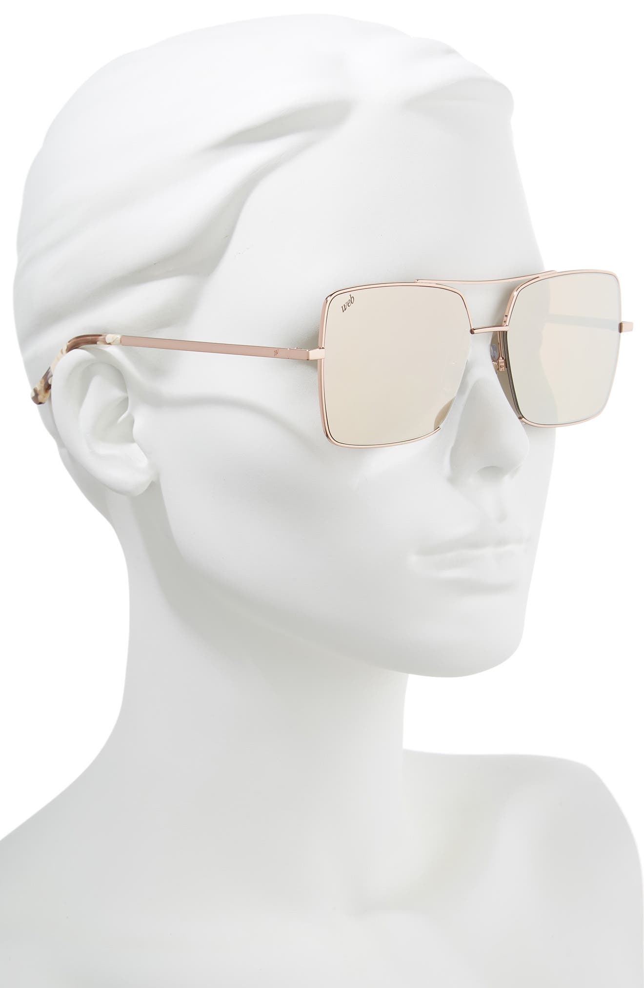 57mm Square Metal Aviator Sunglasses,                             Alternate thumbnail 2, color,                             Light Bronze/ Brown
