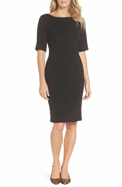 e6b48c4abf Eliza J Bateau Neck Crepe Sheath Dress