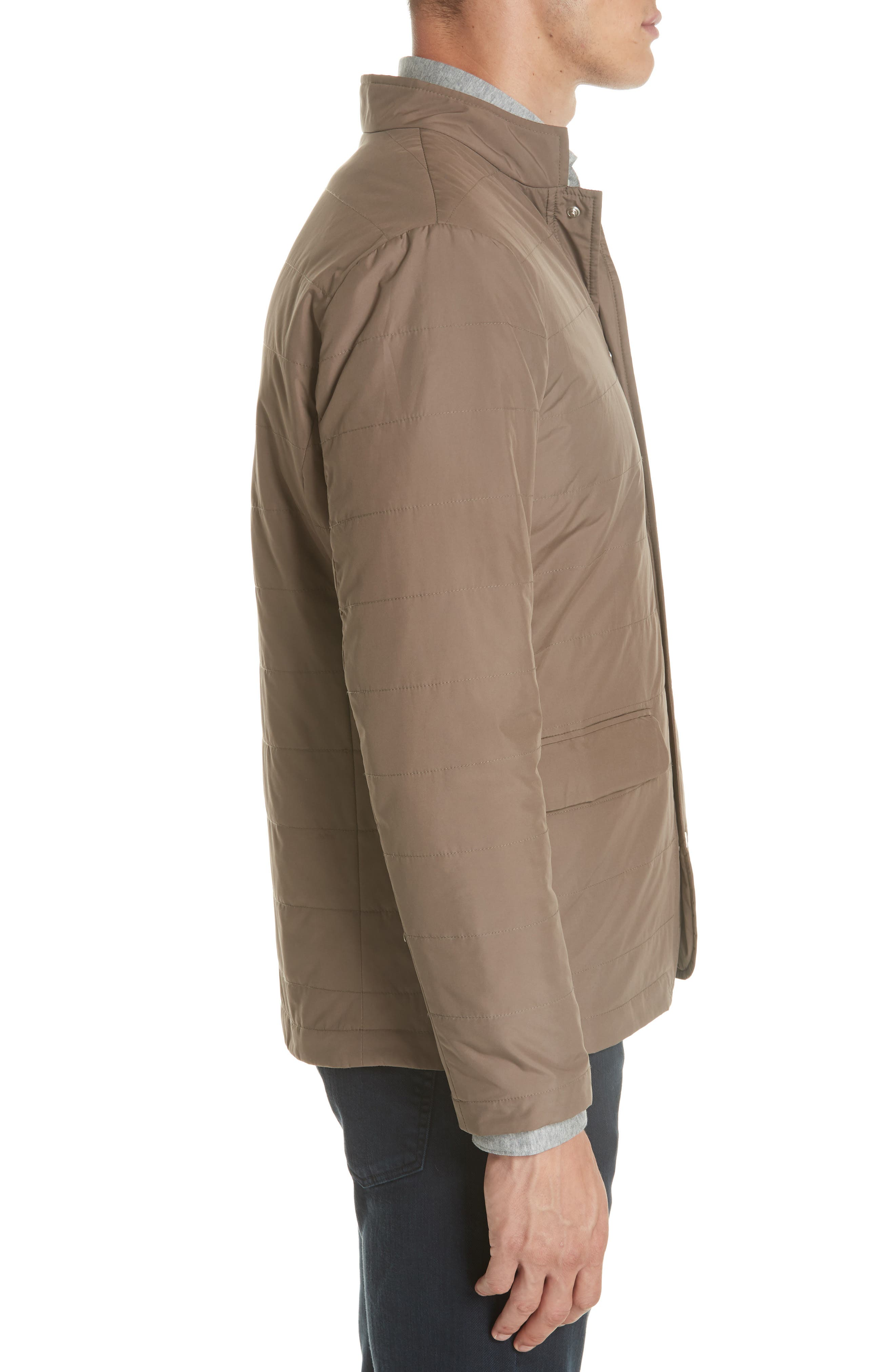 Quilted Jacket,                             Alternate thumbnail 3, color,                             Taupe