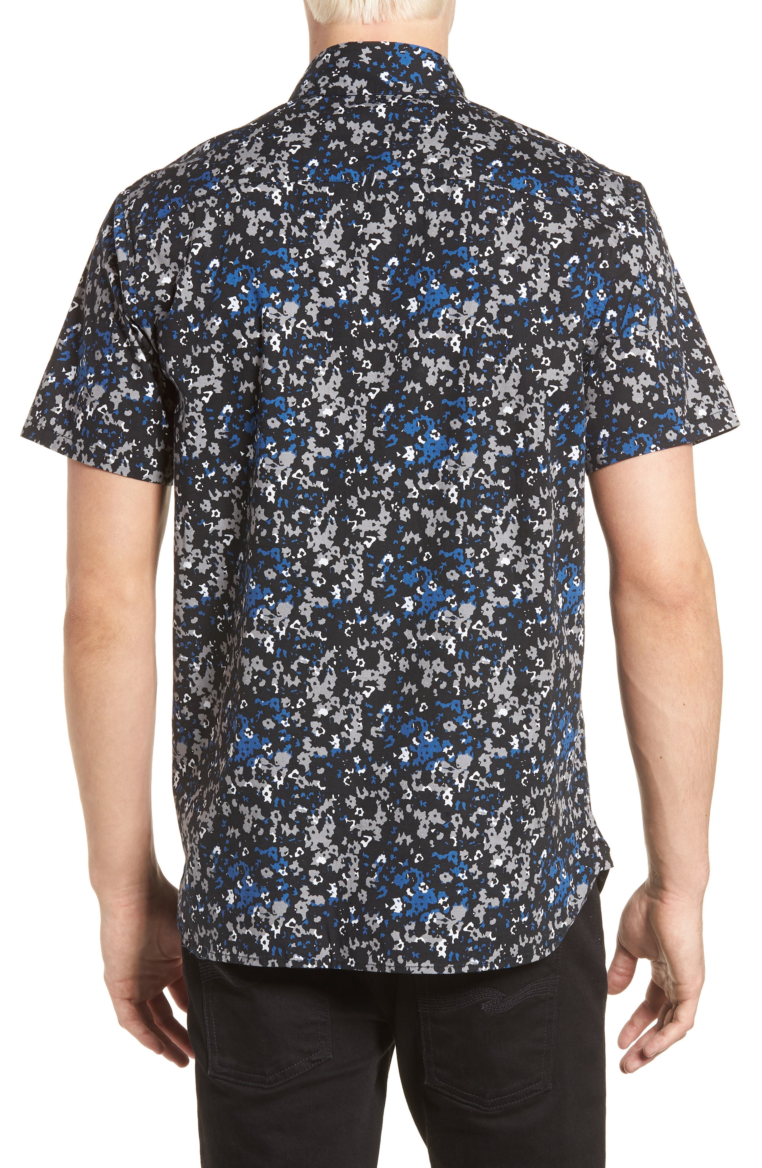 Fowler Woven Shirt,                             Alternate thumbnail 3, color,                             Black Micro Floral
