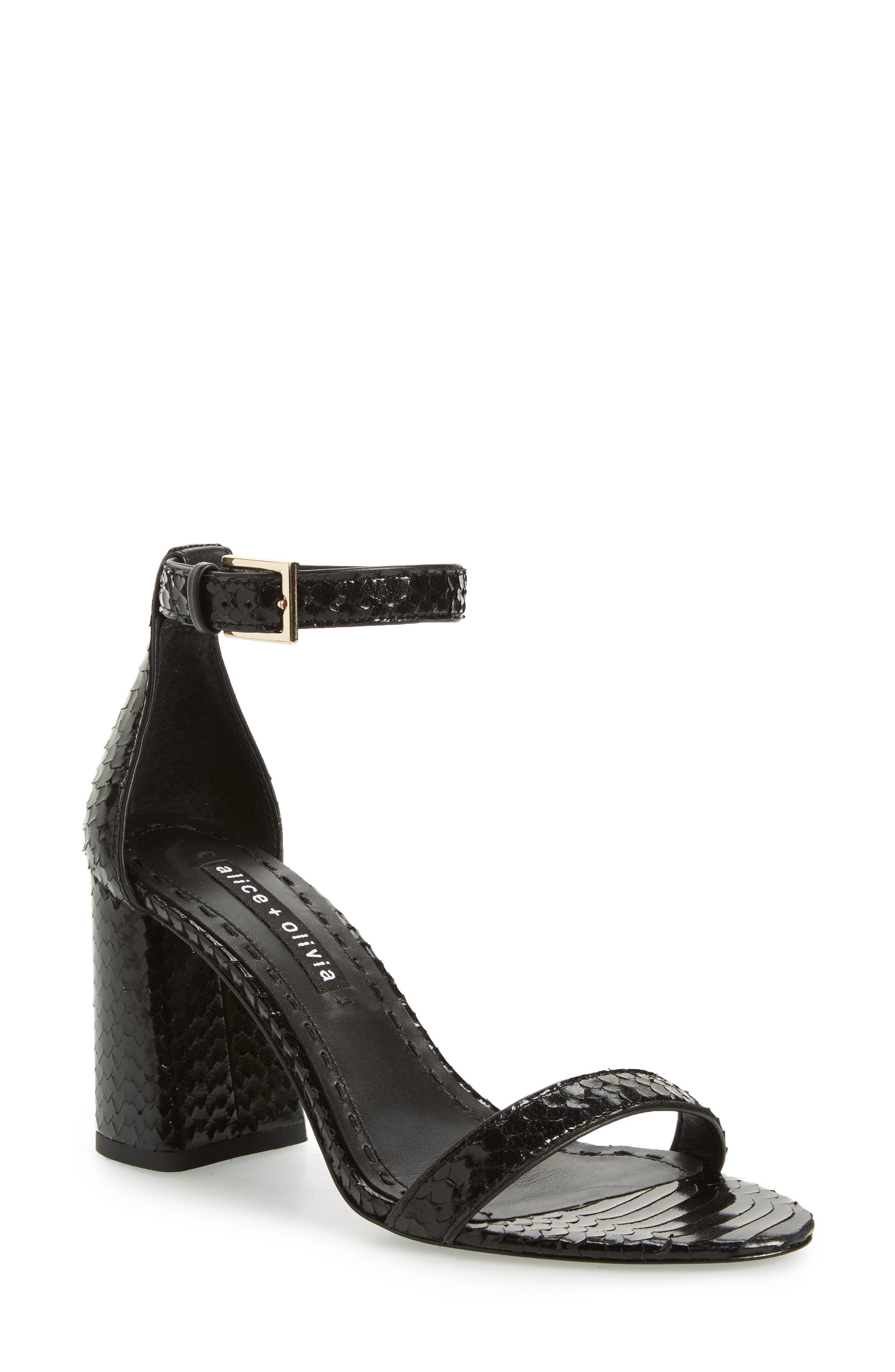 Lillian Ankle Strap Sandal,                             Main thumbnail 1, color,                             Black