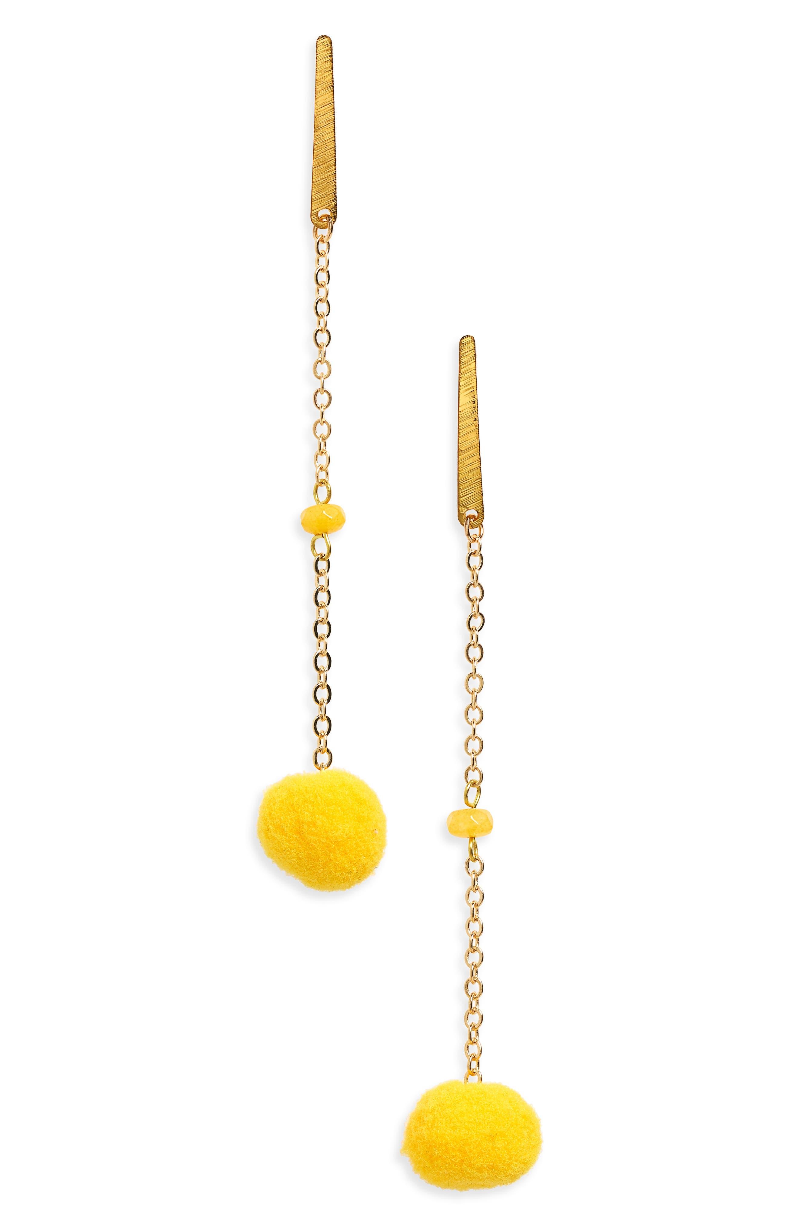 Linear Pom Earrings,                         Main,                         color, Yellow