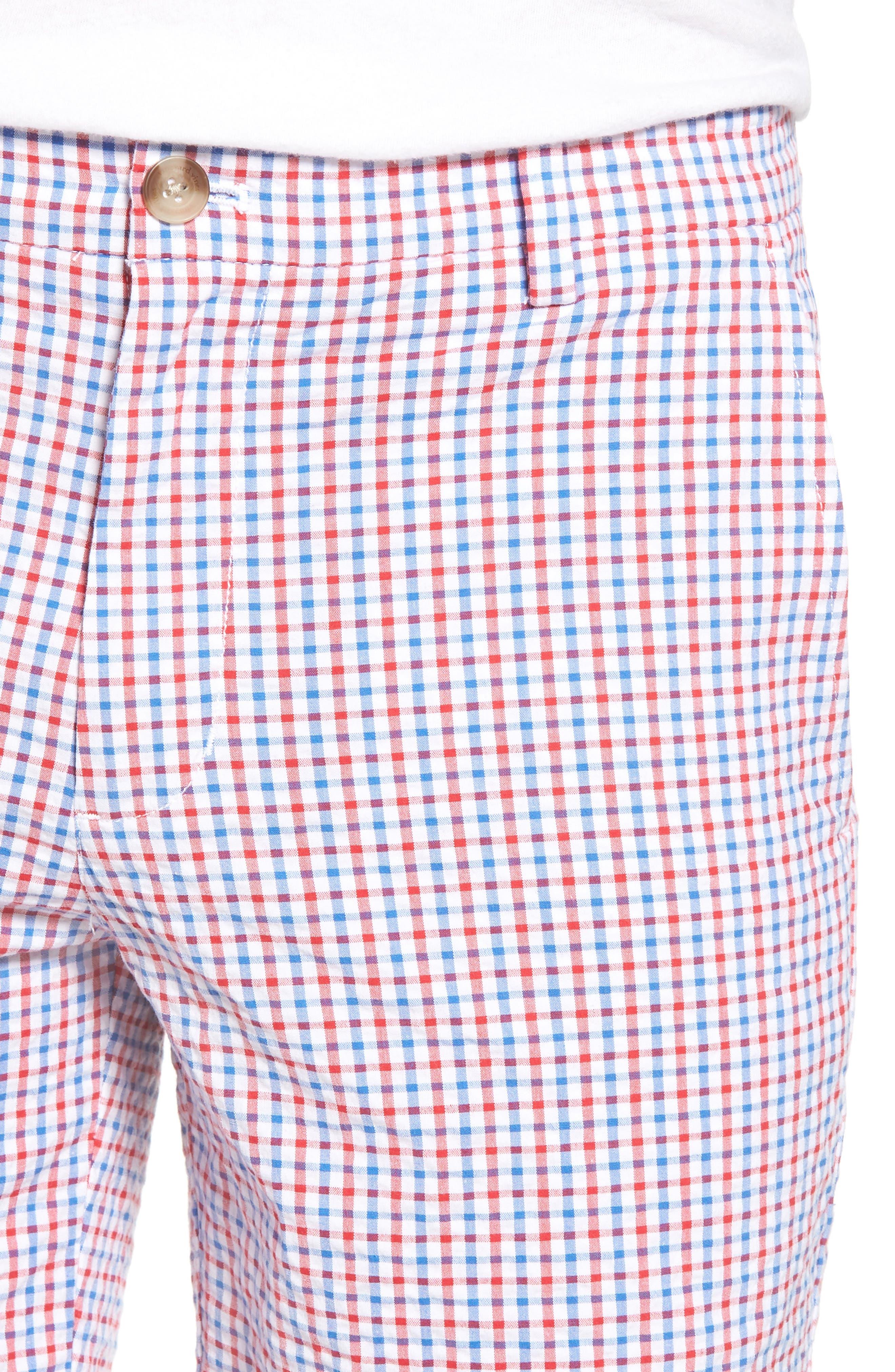 Gingham Seersucker Stretch Breaker Shorts,                             Alternate thumbnail 4, color,                             Spinnaker