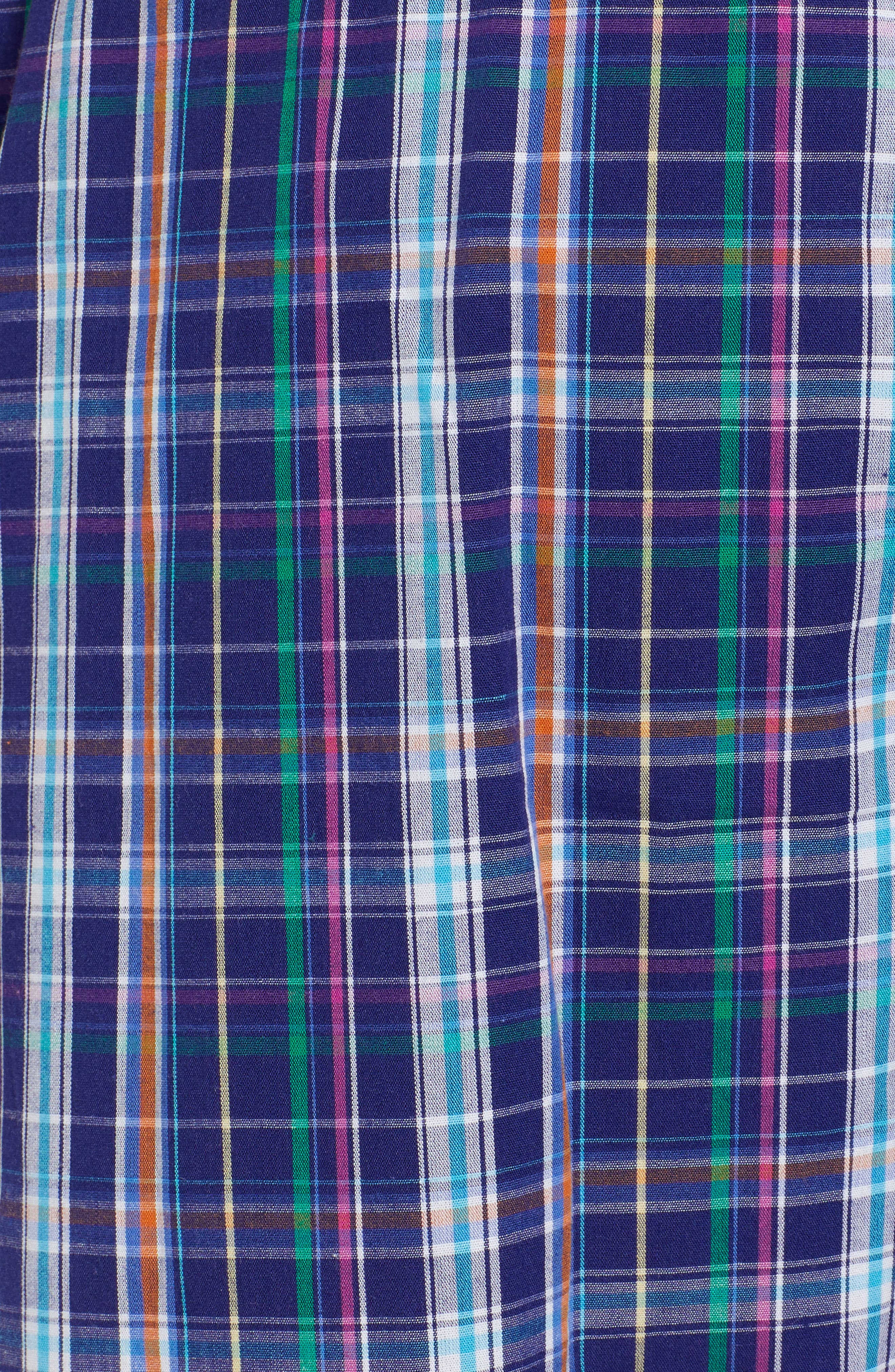 Cotton Lounge Pants,                             Alternate thumbnail 5, color,                             Alton Plaid/ May Orange