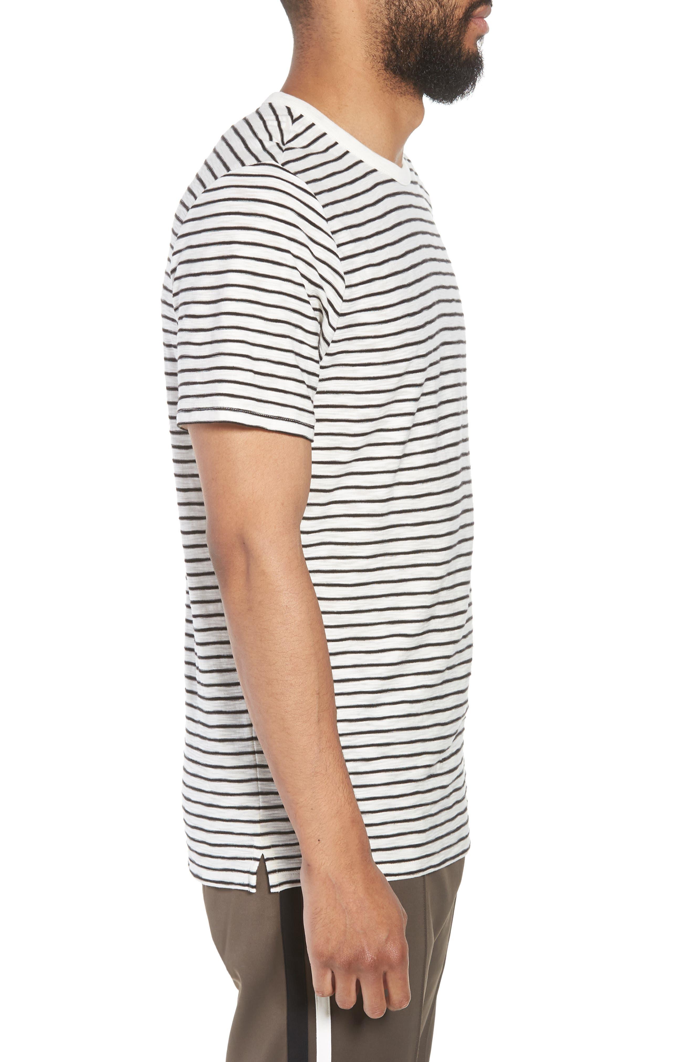 Stripe Crewneck T-Shirt,                             Alternate thumbnail 3, color,                             Off White/ Black