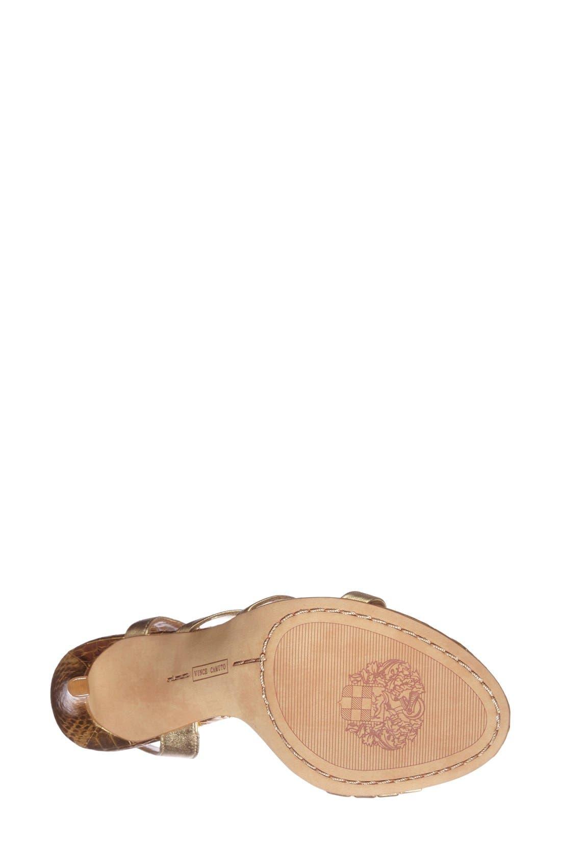 'Tiernan' Strappy Leather Sandal,                             Alternate thumbnail 4, color,                             Gold