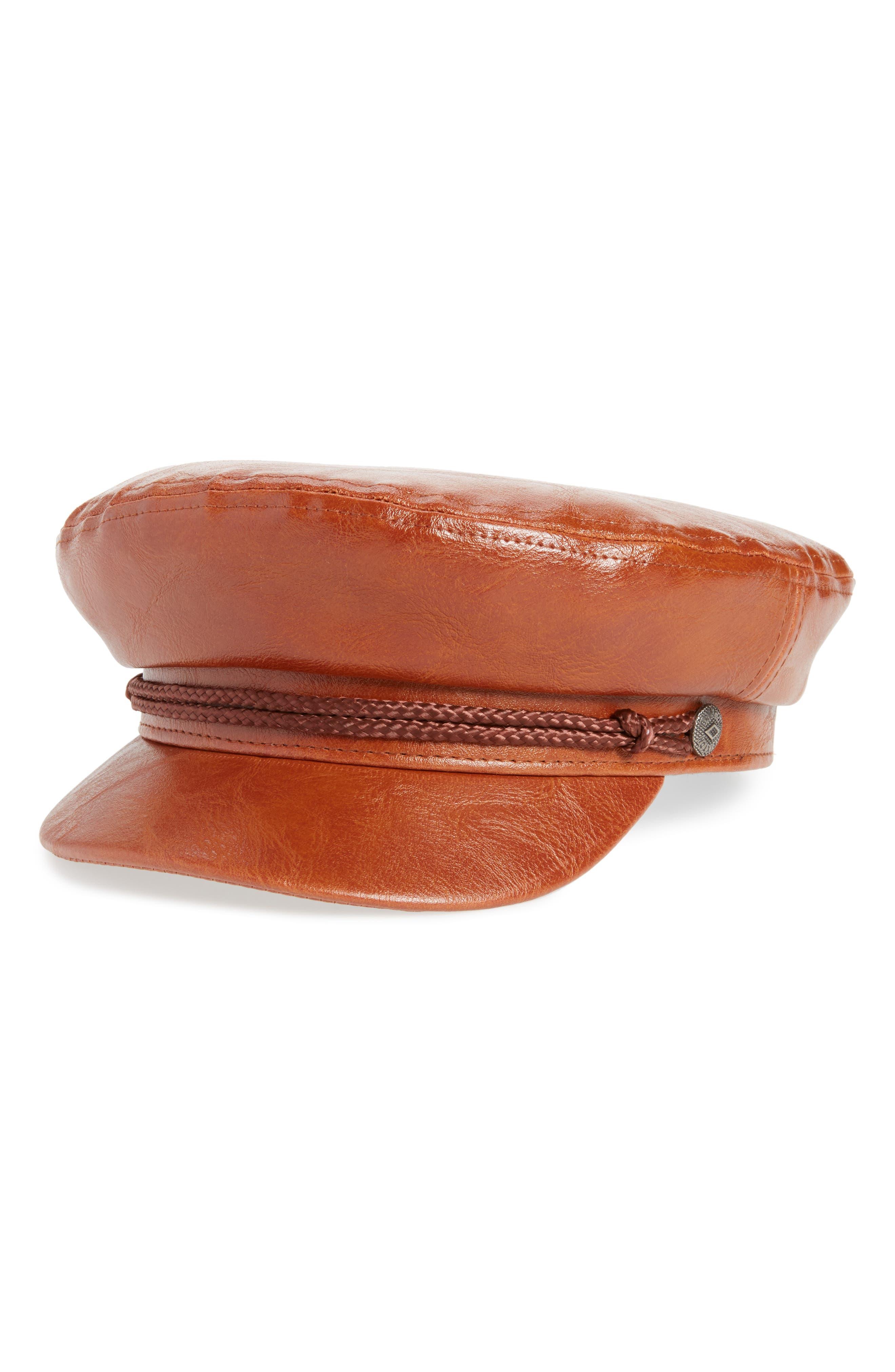 Fiddler Cap,                             Main thumbnail 1, color,                             Tan Vegan Leather