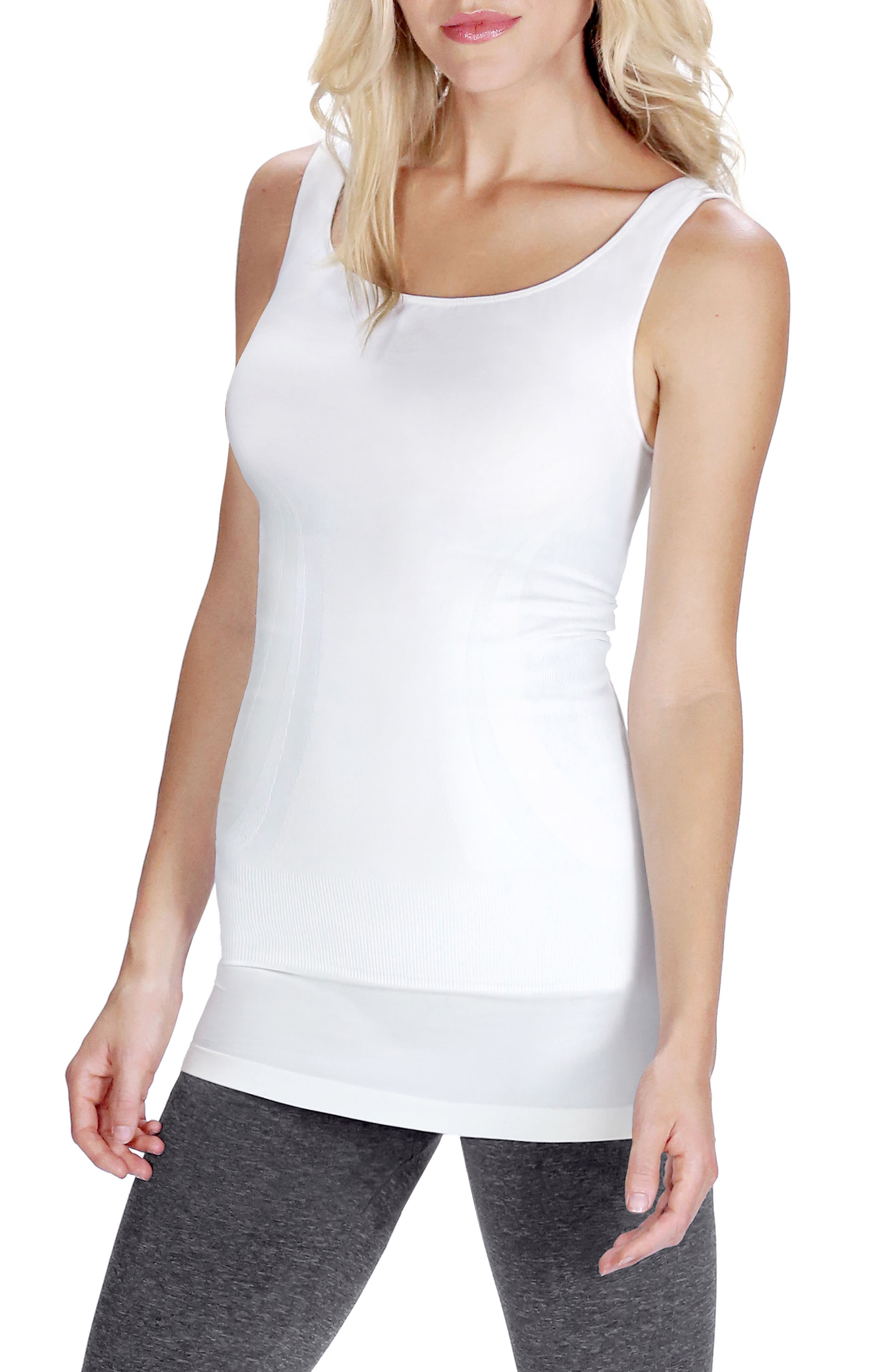 Everyday<sup>™</sup> Pull-Down Postpartum + Nursing Support Tank Top,                             Main thumbnail 1, color,                             Winter White