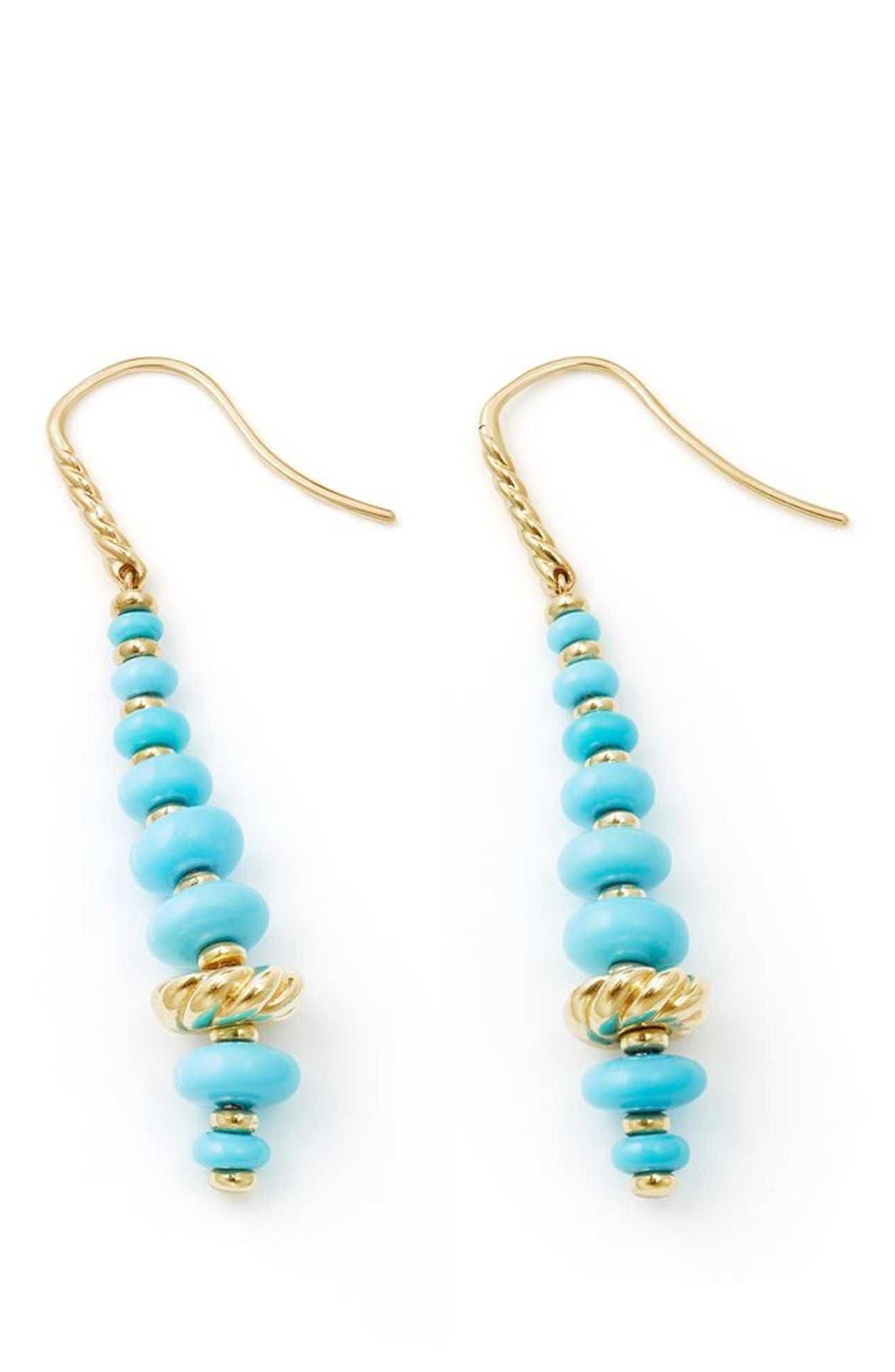 Rio Rondelle Drop Earrings in 18K Gold,                             Alternate thumbnail 2, color,                             Gold/ Turquoise