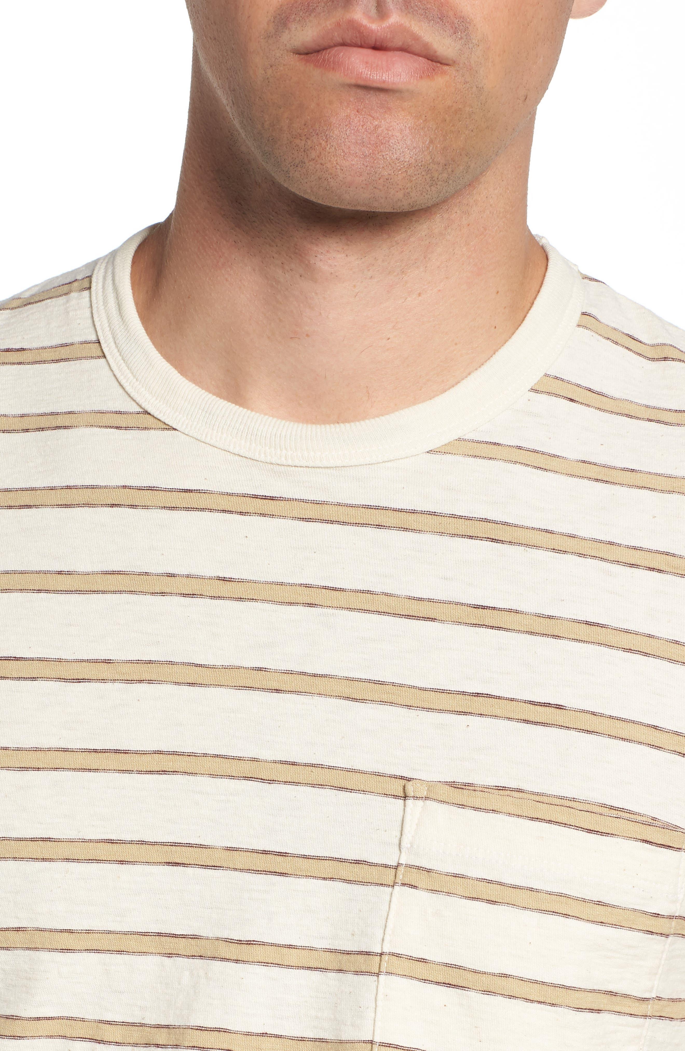 Vintage Stripe Pocket T-Shirt,                             Alternate thumbnail 4, color,                             Cotton Stripe