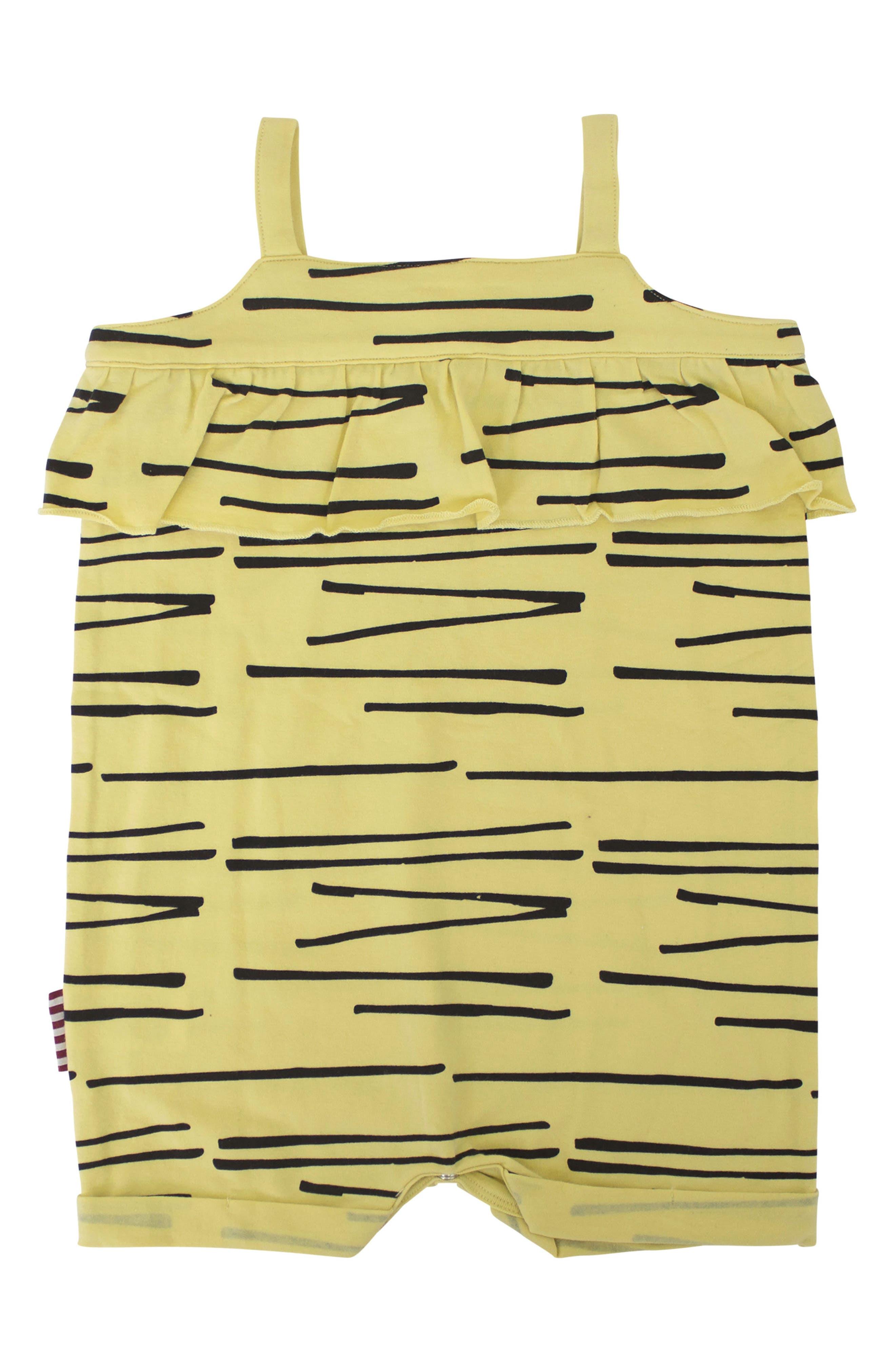 Tiger Stripe Ruffle Romper,                             Main thumbnail 1, color,                             Yellow