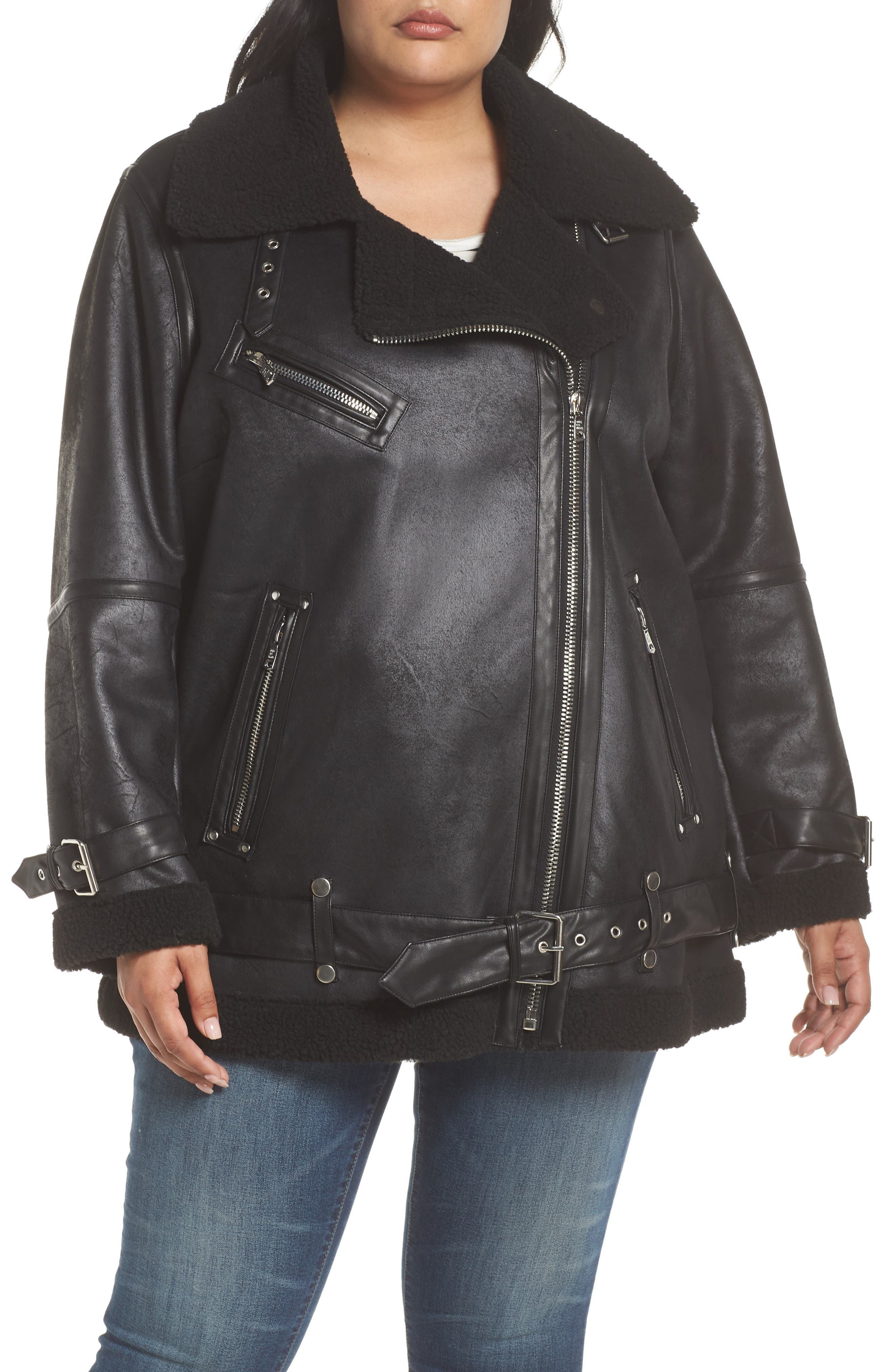 Faux Shearling Biker Jacket,                             Alternate thumbnail 4, color,                             Black