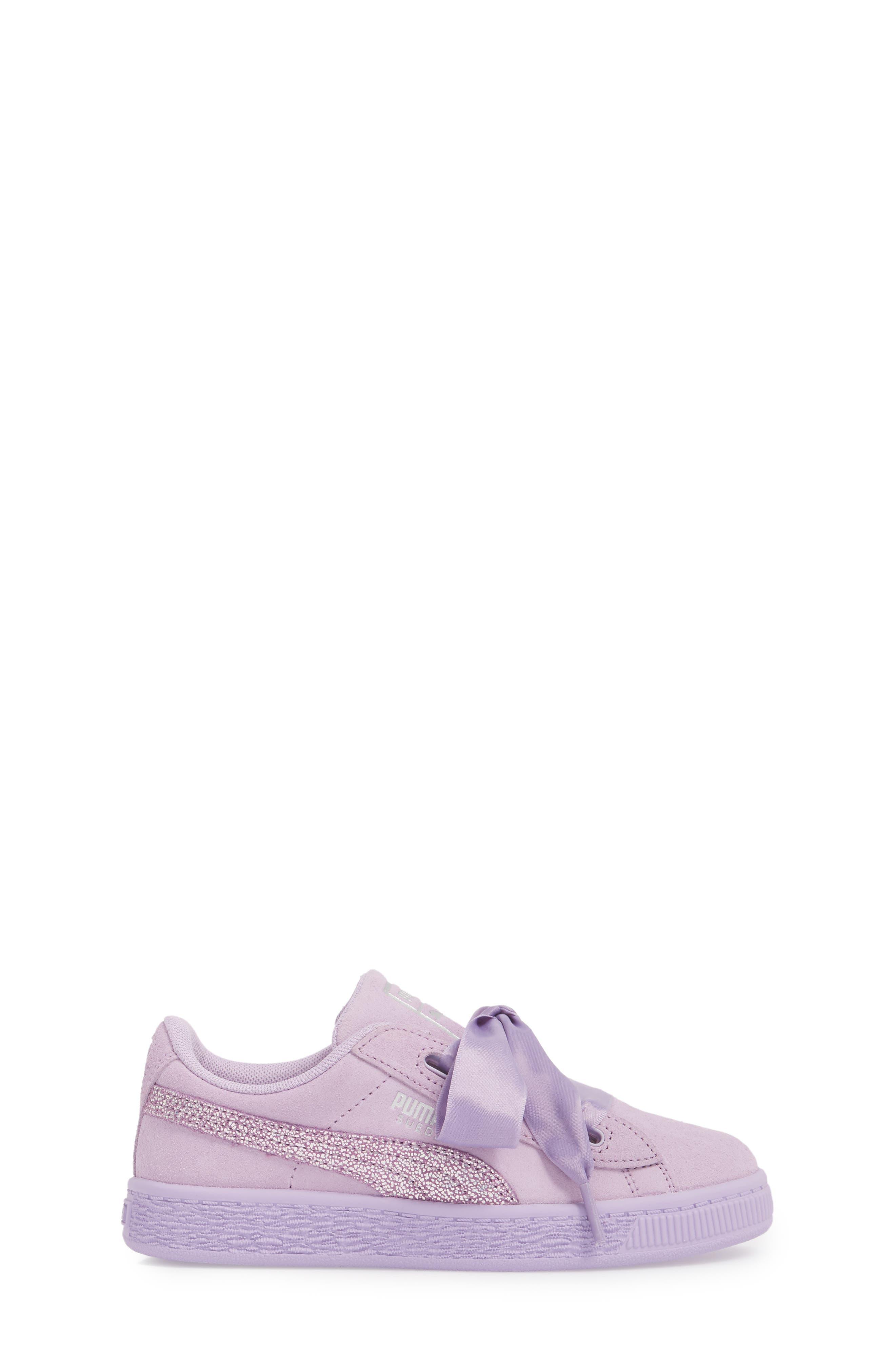 Basket Heart Glitz Sneaker,                             Alternate thumbnail 3, color,                             Purple Haze/ Silver