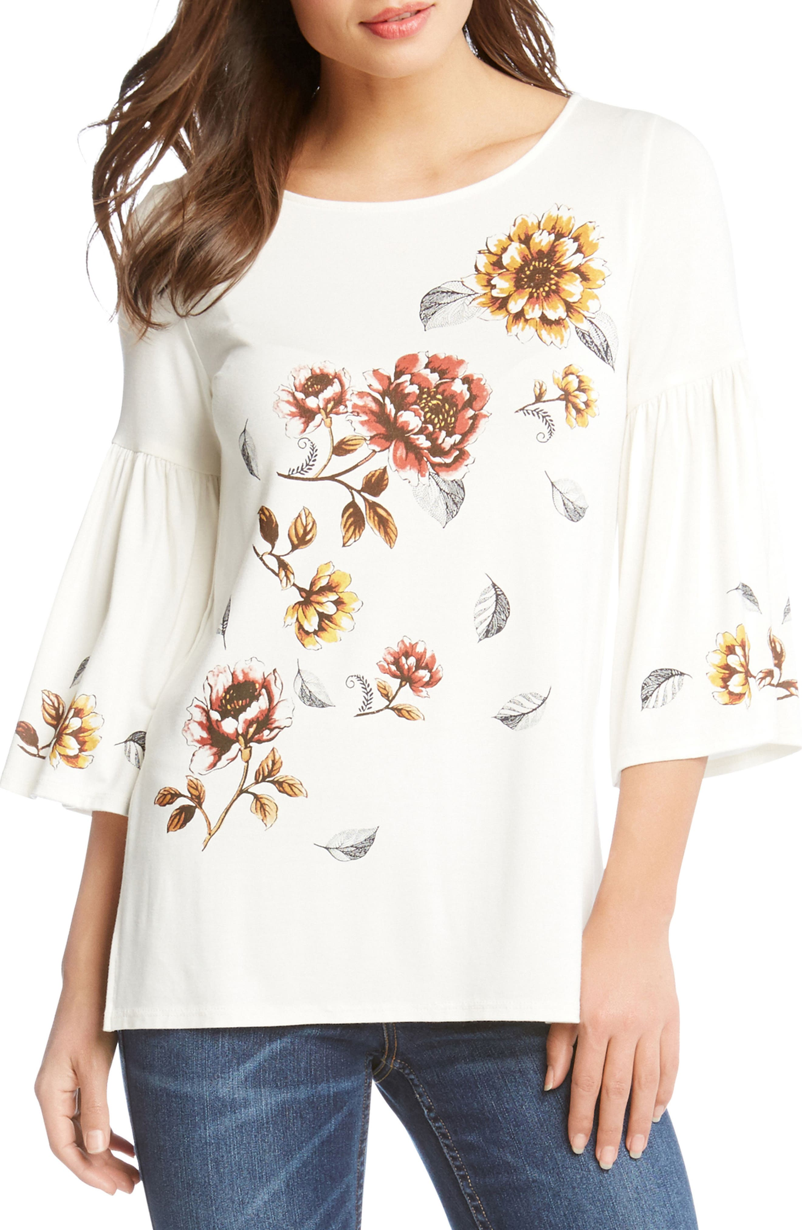 Bell Sleeve Floral Top,                         Main,                         color, Cream