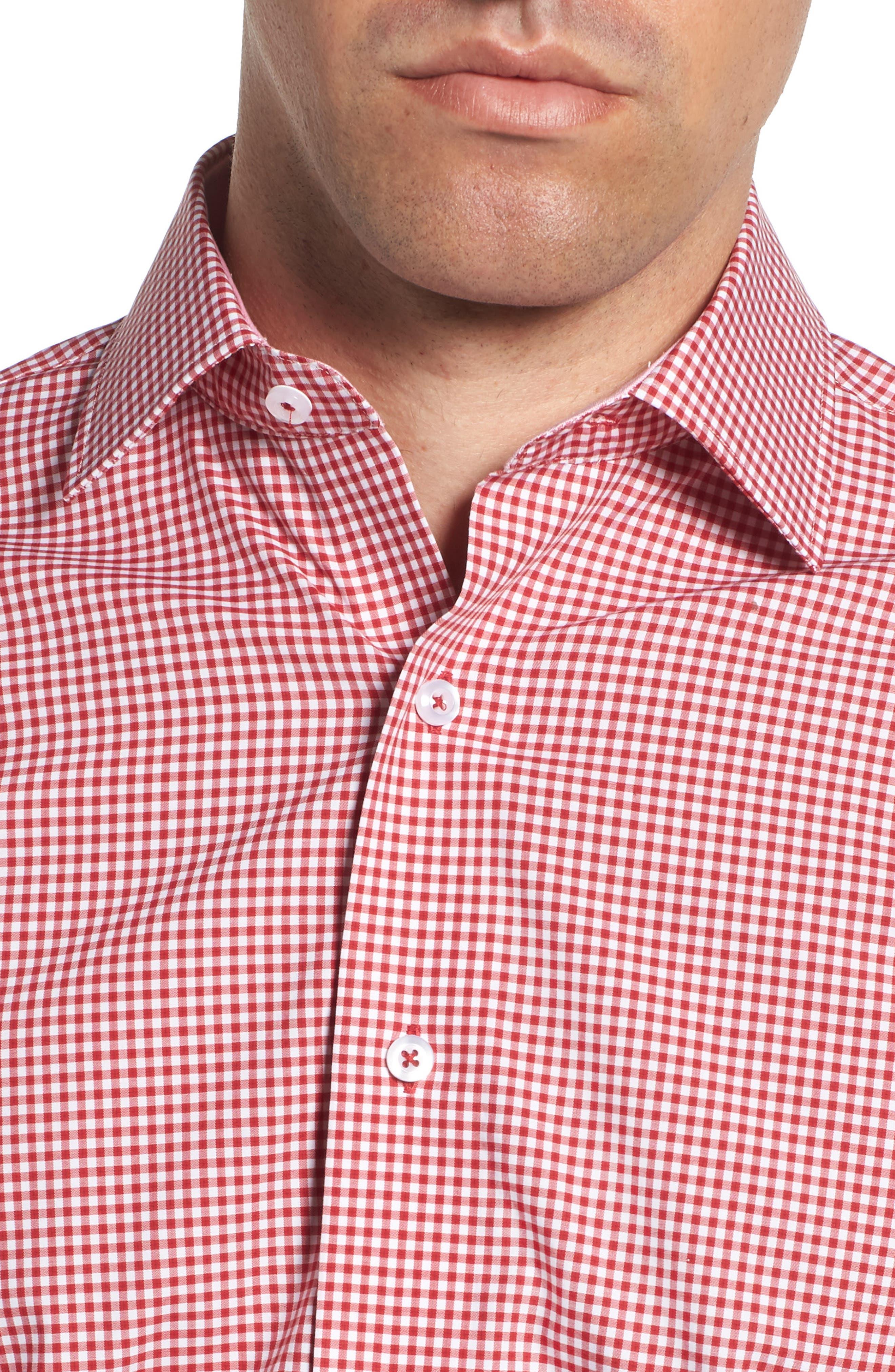 Trim Fit Check Dress Shirt,                             Alternate thumbnail 2, color,                             Red