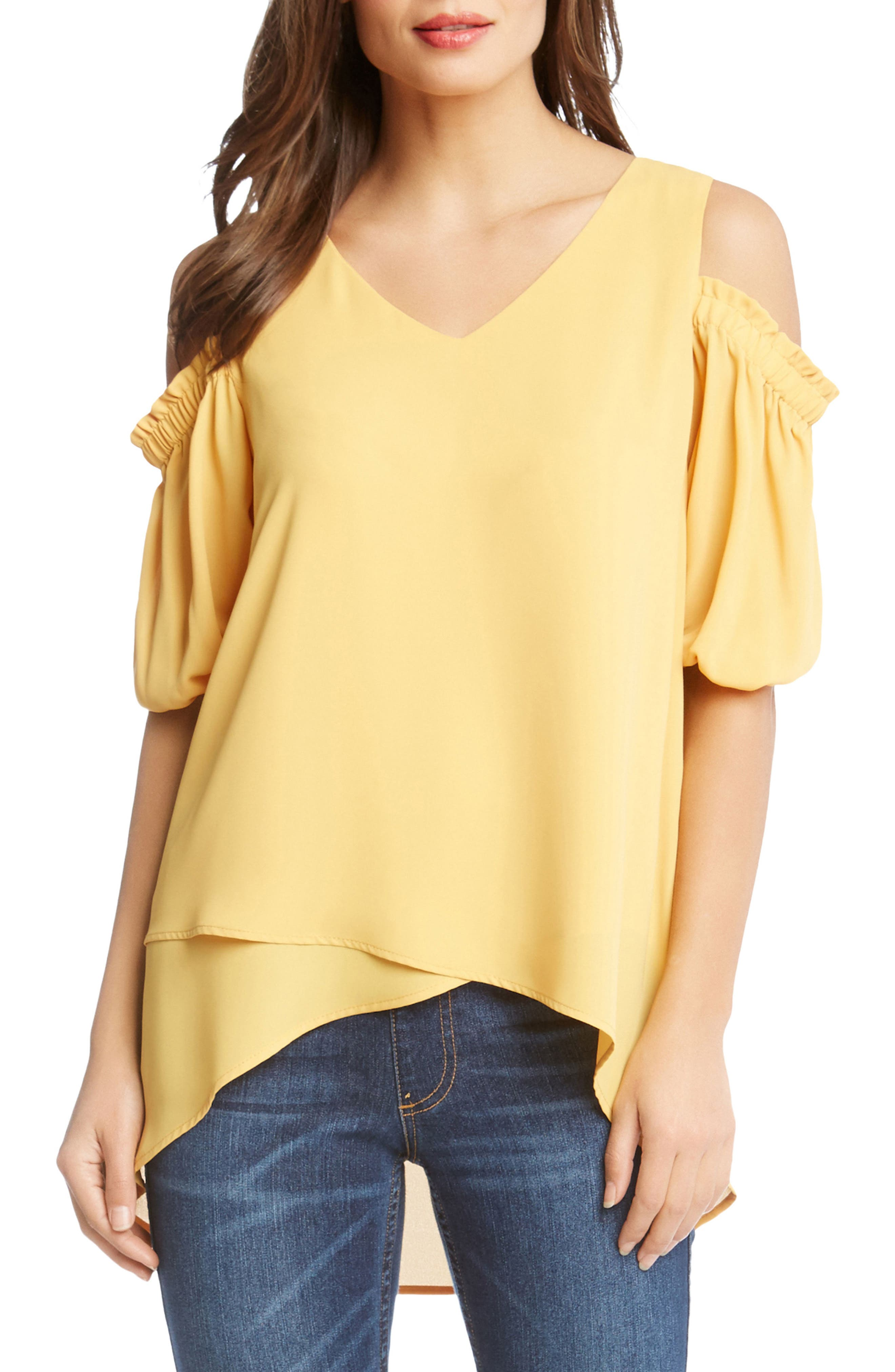 Asymmetrical Hem Cold Shoulder Top by Karen Kane