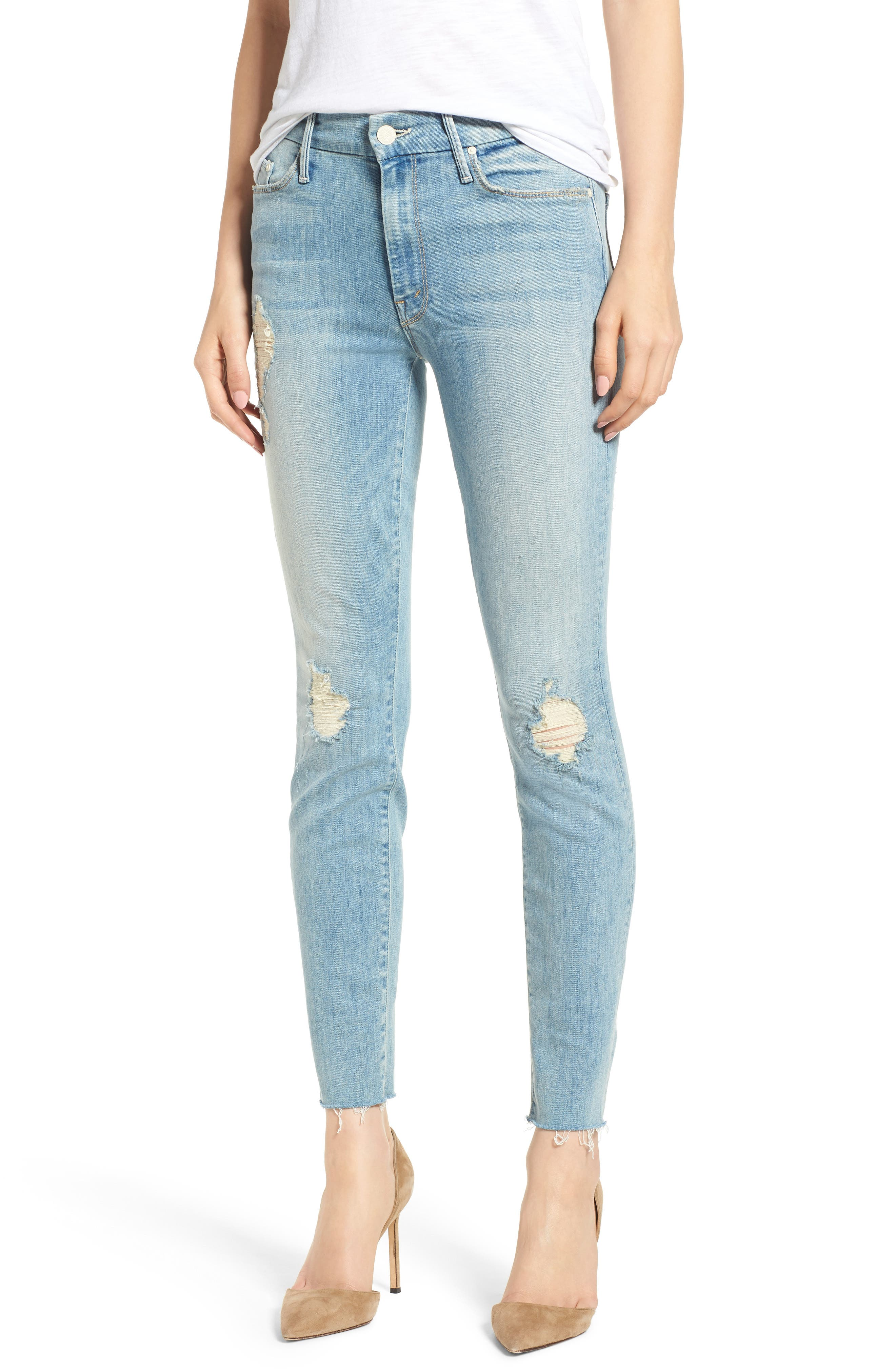 MOTHER The Looker Frayed Ankle Skinny Jeans