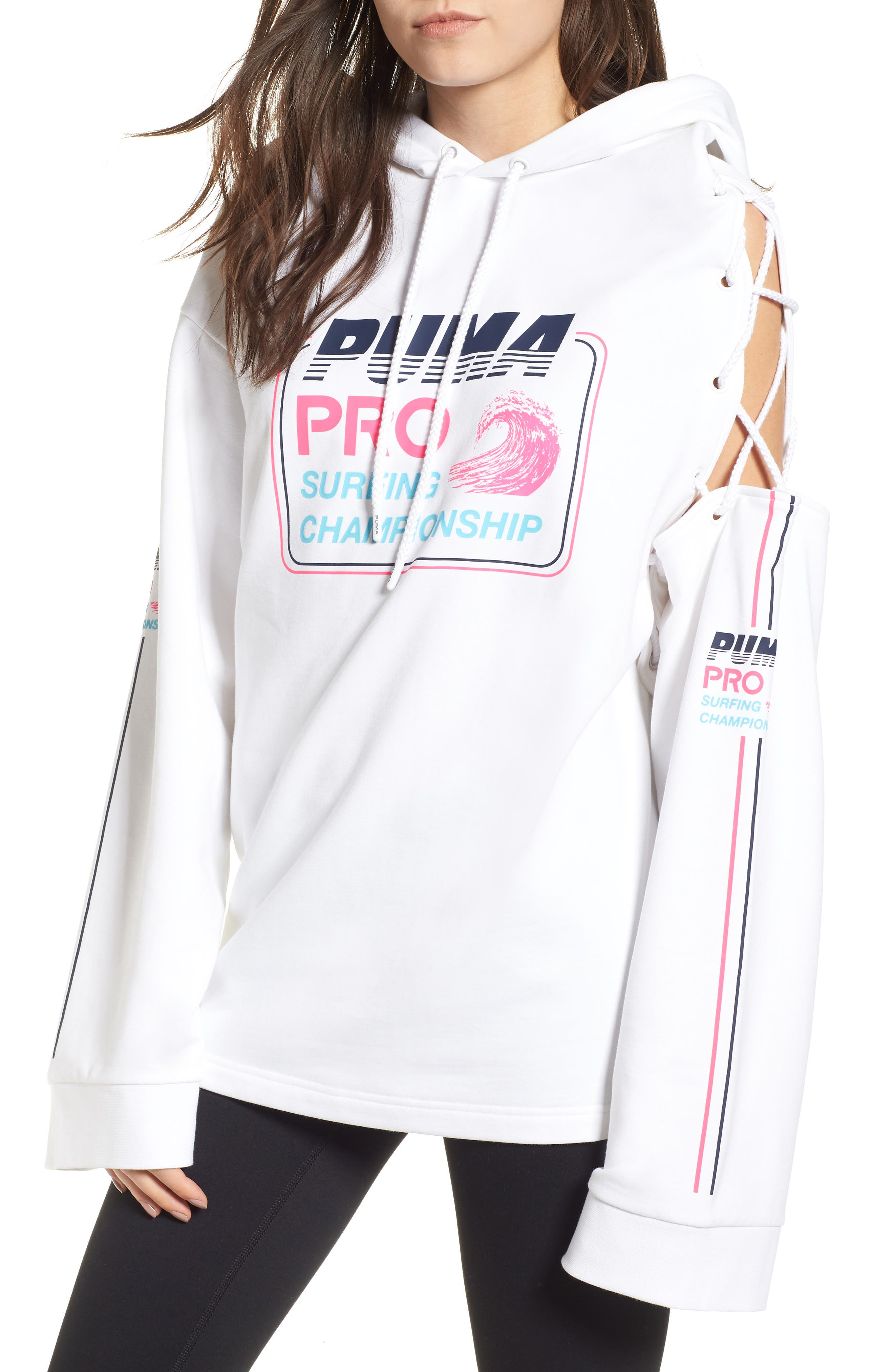 PUMA by Rihanna Lace-Up Side Hoodie,                             Main thumbnail 1, color,                             Bright White