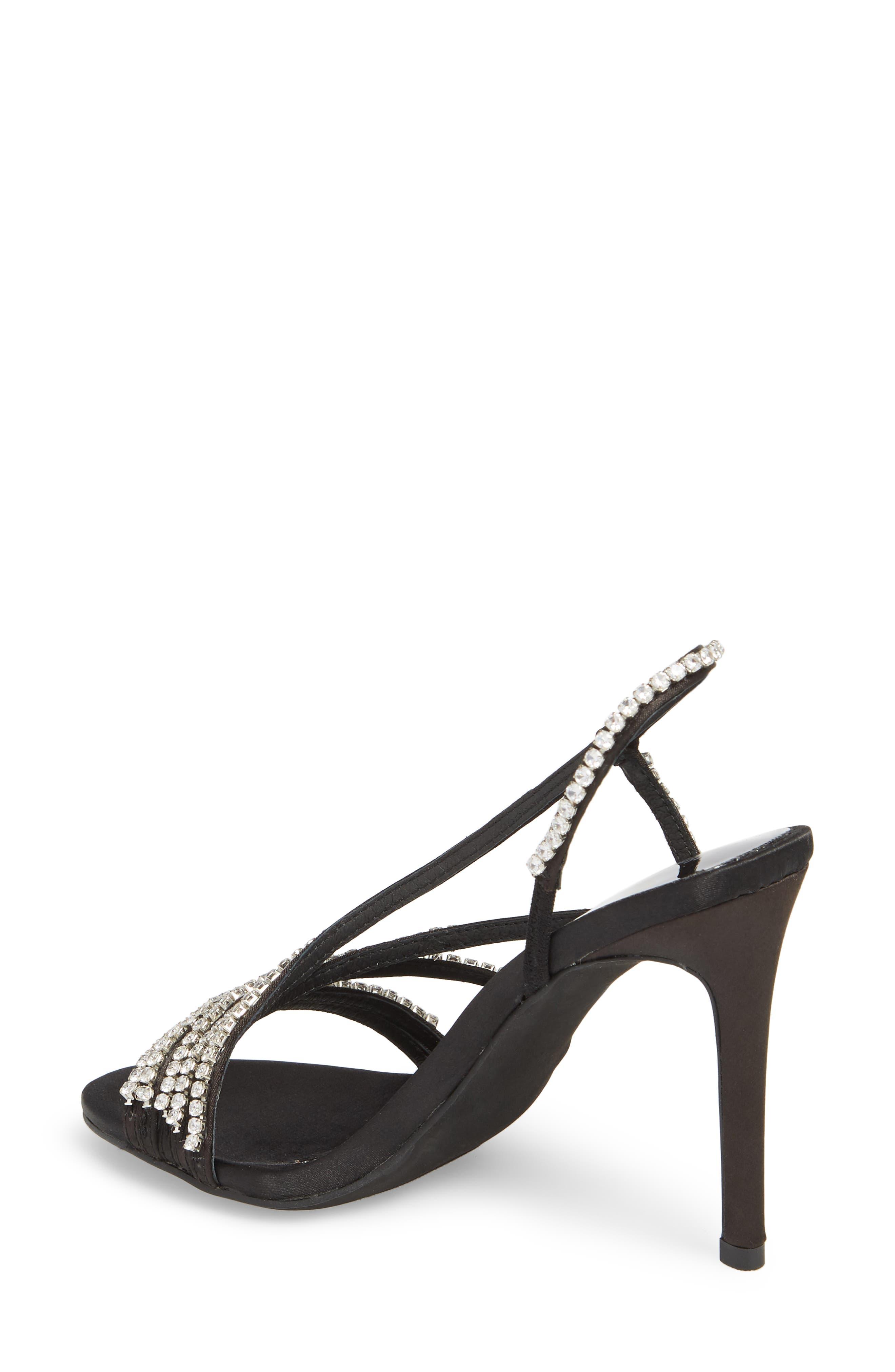 Lilian Embellished Strappy Sandal,                             Alternate thumbnail 2, color,                             Black Satin Silver