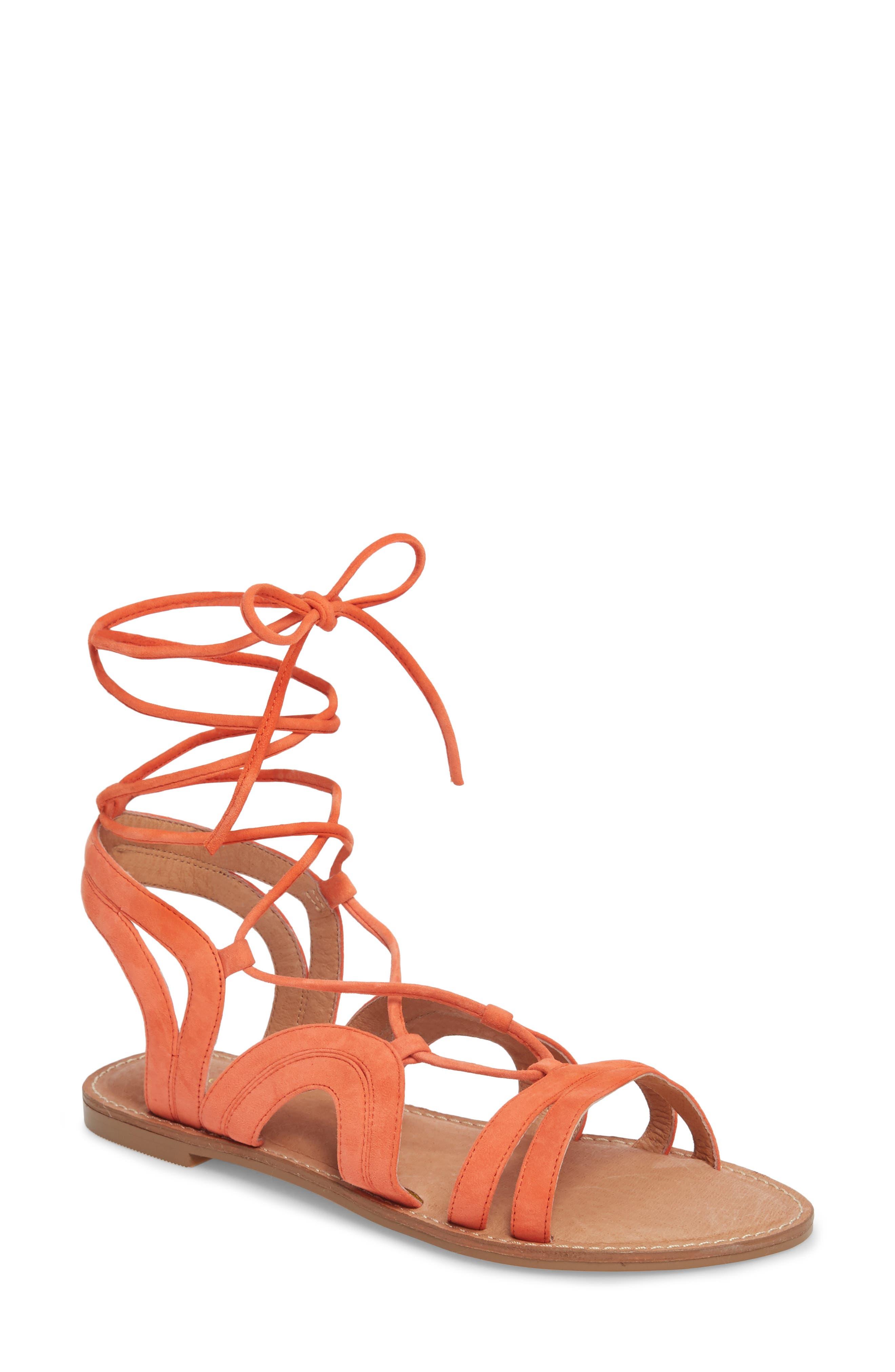 Lilian Gladiator Sandal,                         Main,                         color, Orange Suede