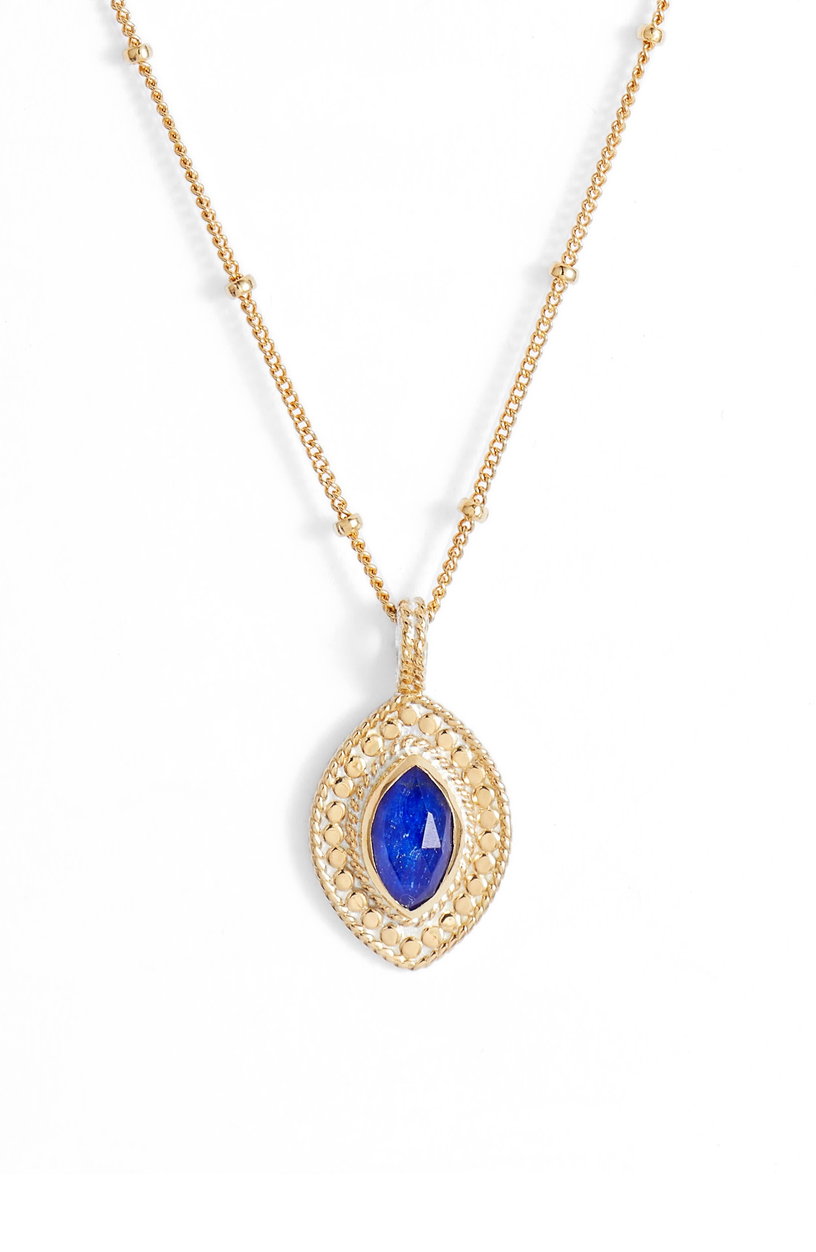 ANNA BECK Lapis Marquise Pendant Necklace in Gold/ Lapis