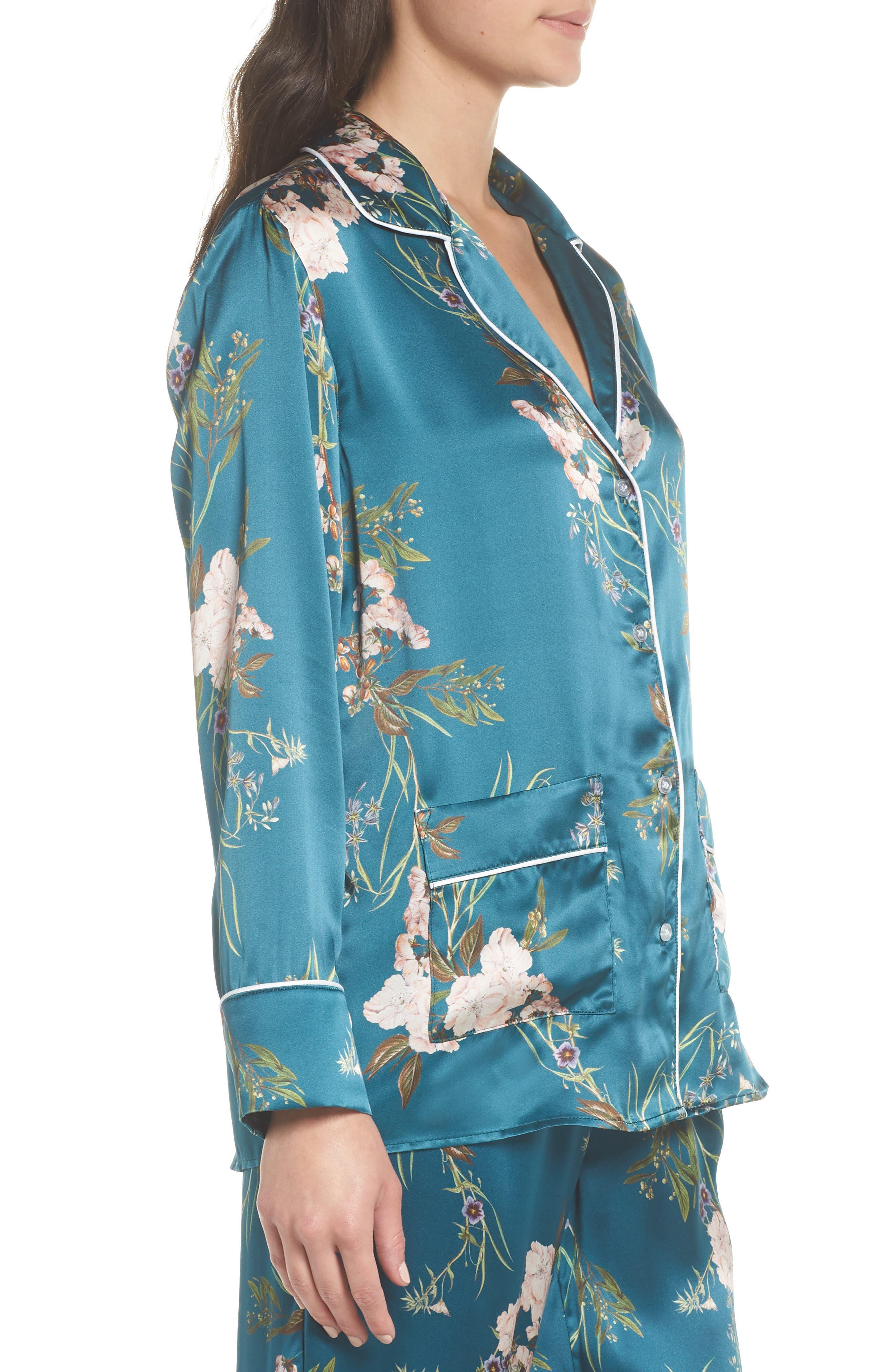 Brigette Silk Pajama Top,                             Alternate thumbnail 3, color,                             Teal Floral