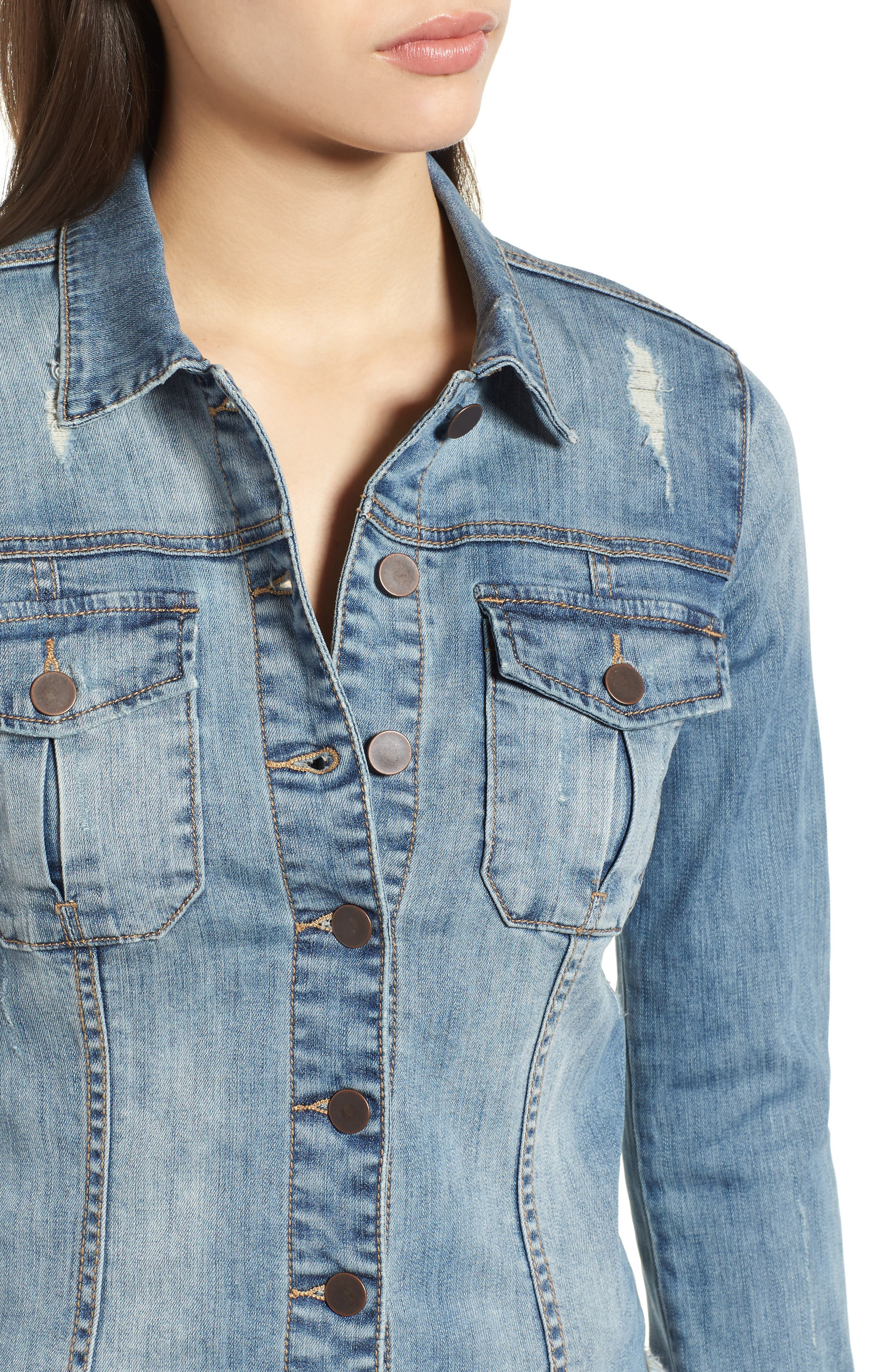 KUT from the Kloth Kara Denim Jacket,                             Alternate thumbnail 4, color,                             Confront