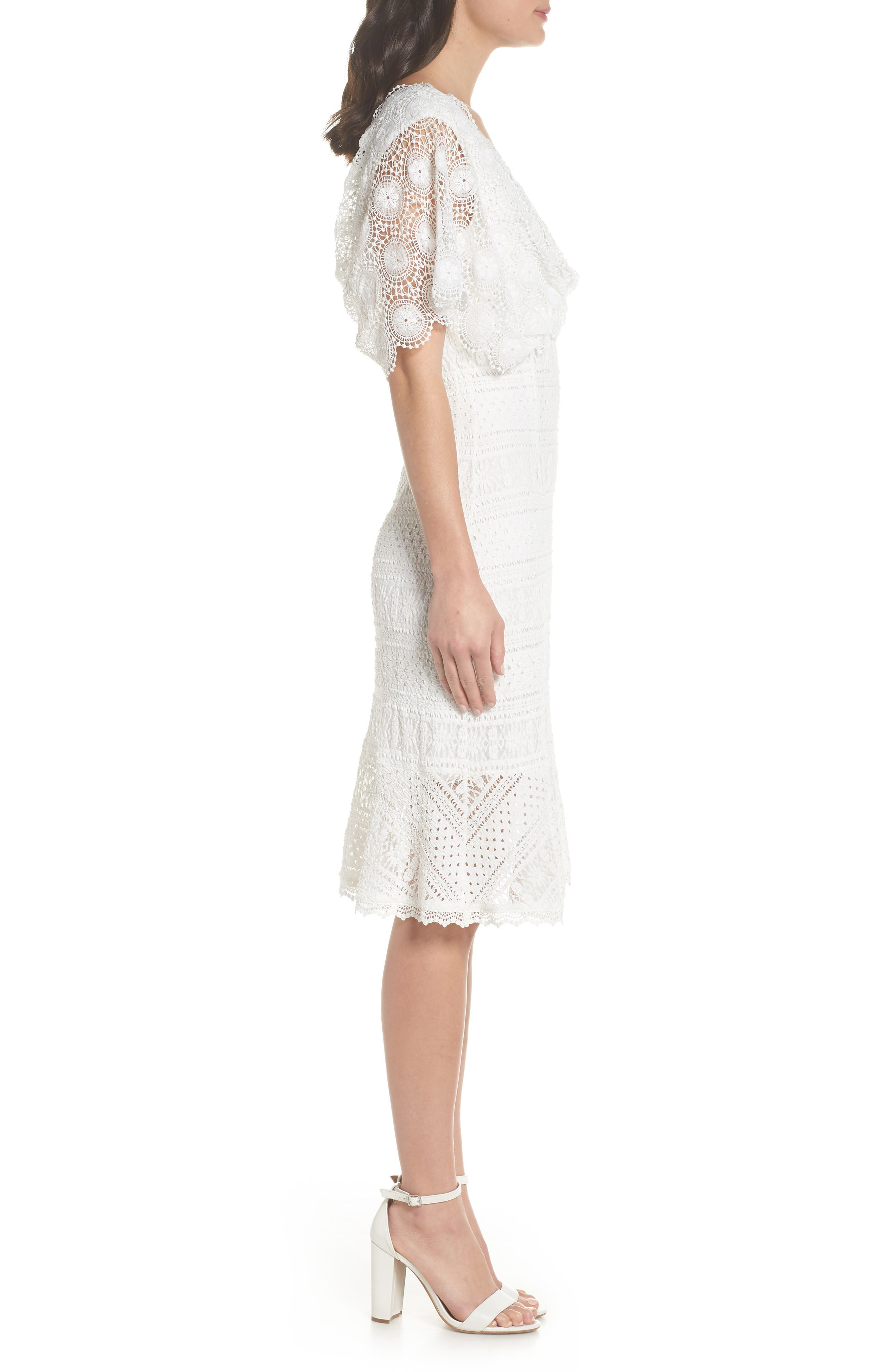 Mavis Scalloped Lace Dress,                             Alternate thumbnail 4, color,                             Off White