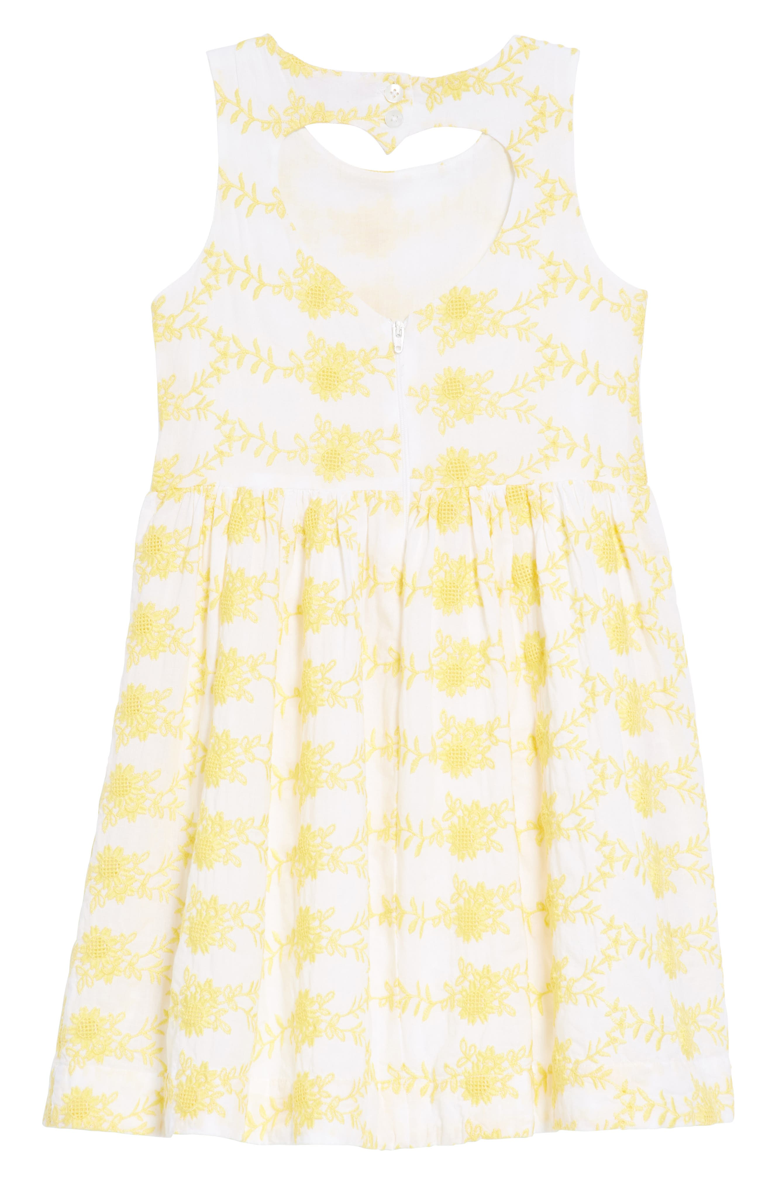 Embroidered Fit & Flare Dress,                             Alternate thumbnail 2, color,                             White- Yellow