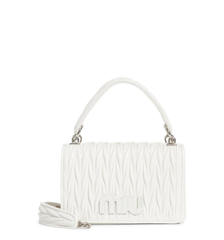 9d923240ba2 MIU MIU MATELASSE QUILTED LAMBSKIN LEATHER TOP HANDLE BAG - WHITE ...