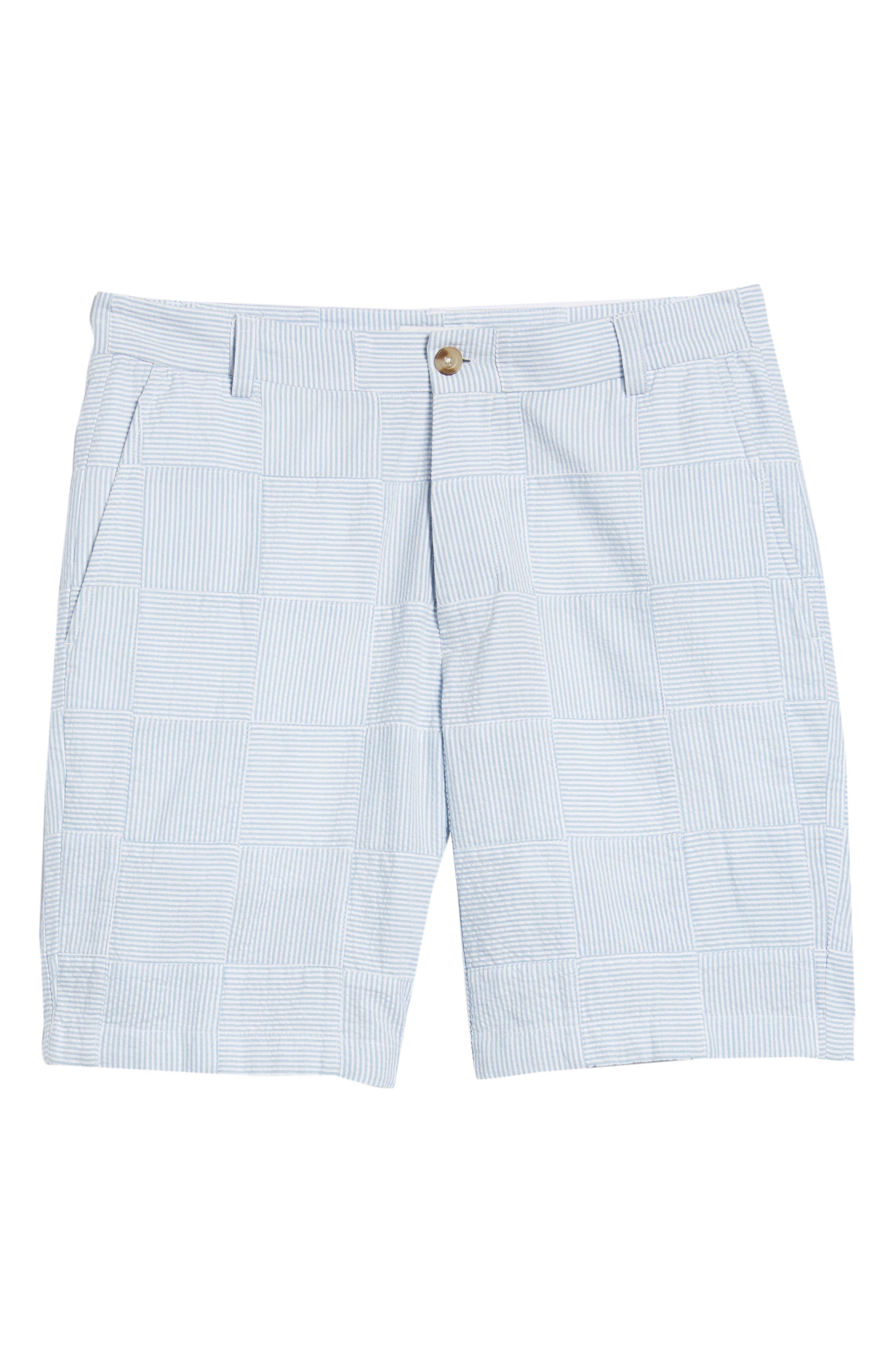 Patchwork Seersucker Breaker Shorts,                             Alternate thumbnail 6, color,                             Ocean Breeze