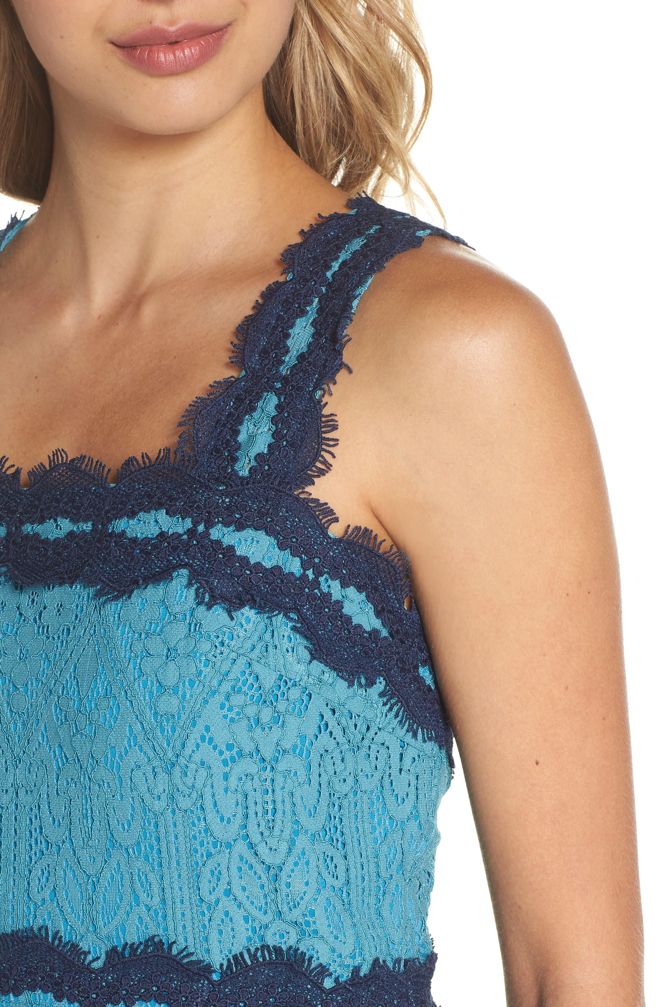 Lula Ruffle Lace Dress,                             Alternate thumbnail 5, color,                             Teal/ Navy