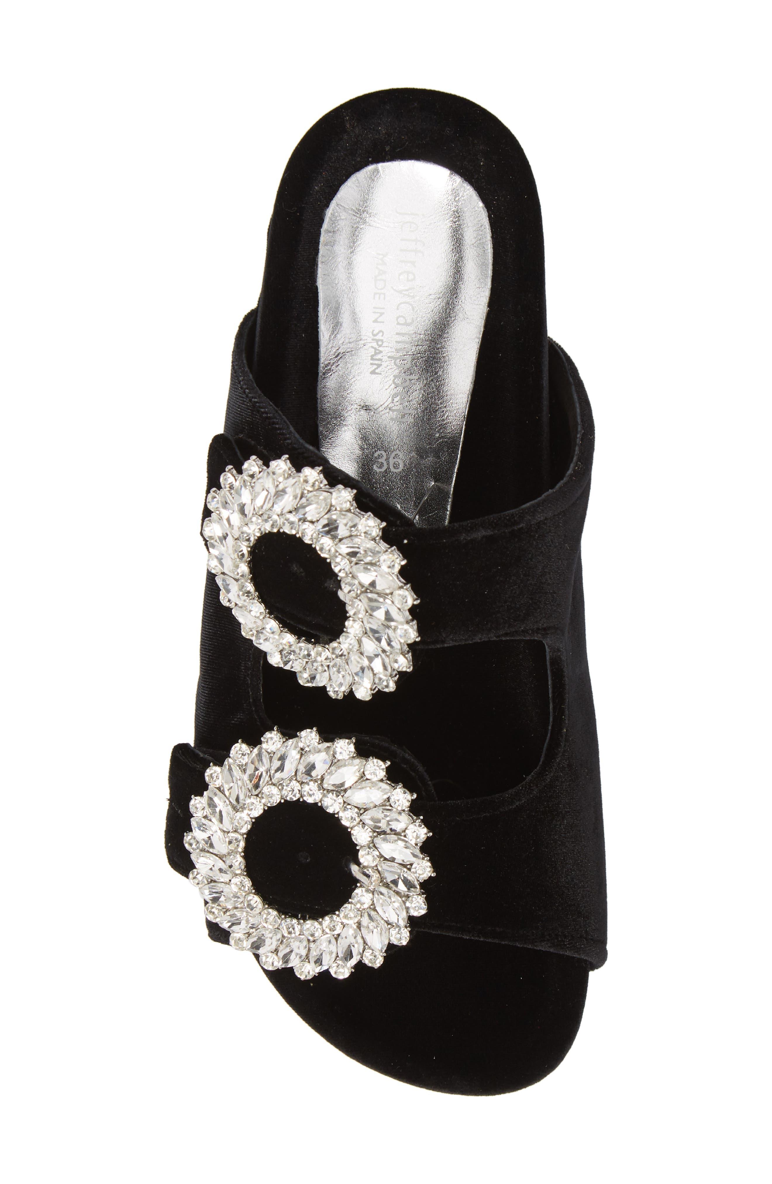 Izaro Embellished Slide Sandal,                             Alternate thumbnail 5, color,                             Black Velvet/ Silver