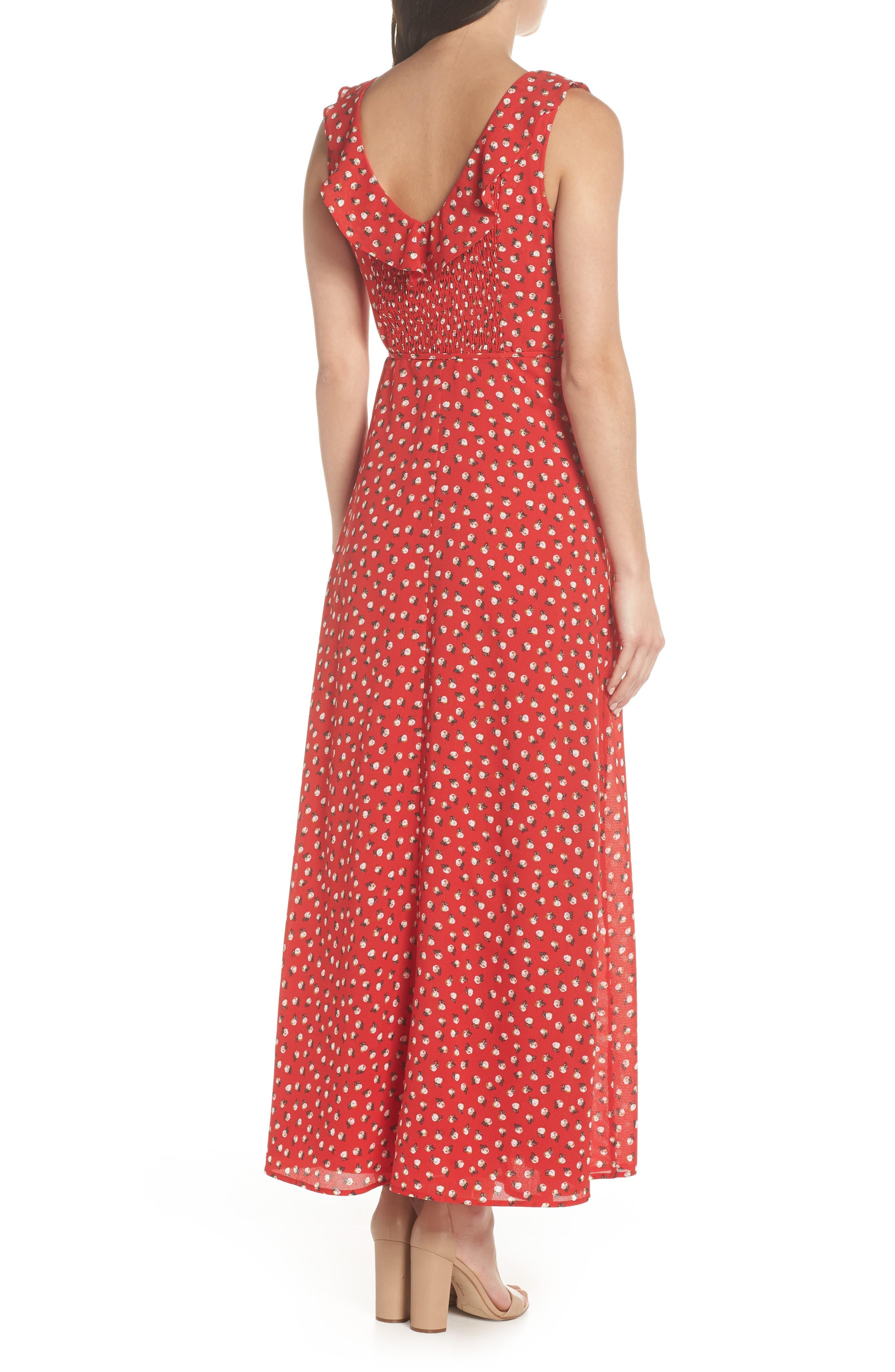 Nora Maxi Dress,                             Alternate thumbnail 2, color,                             Cherry