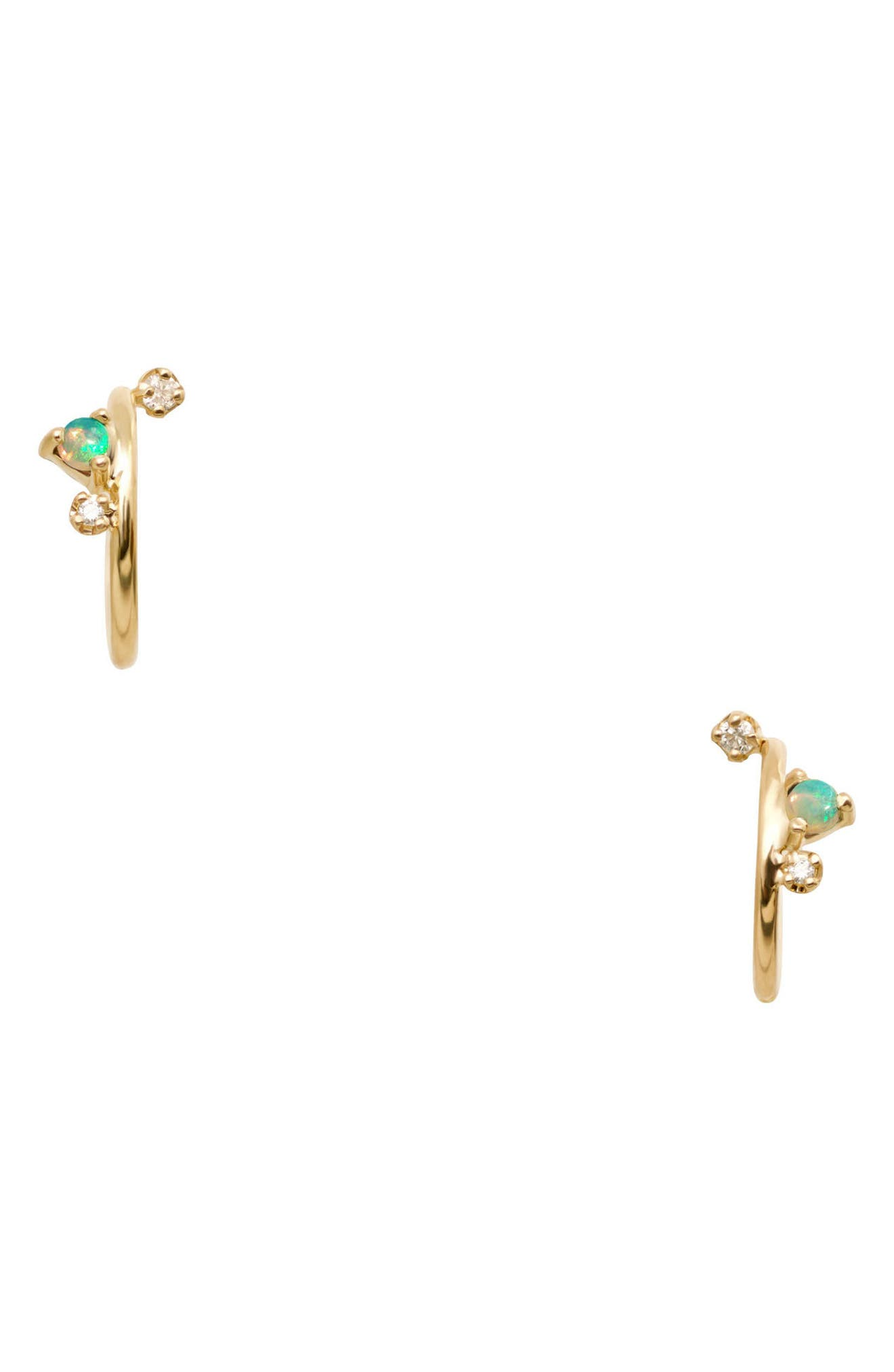 WWAKE Organic Mini Opal & Diamond Hoop Earrings