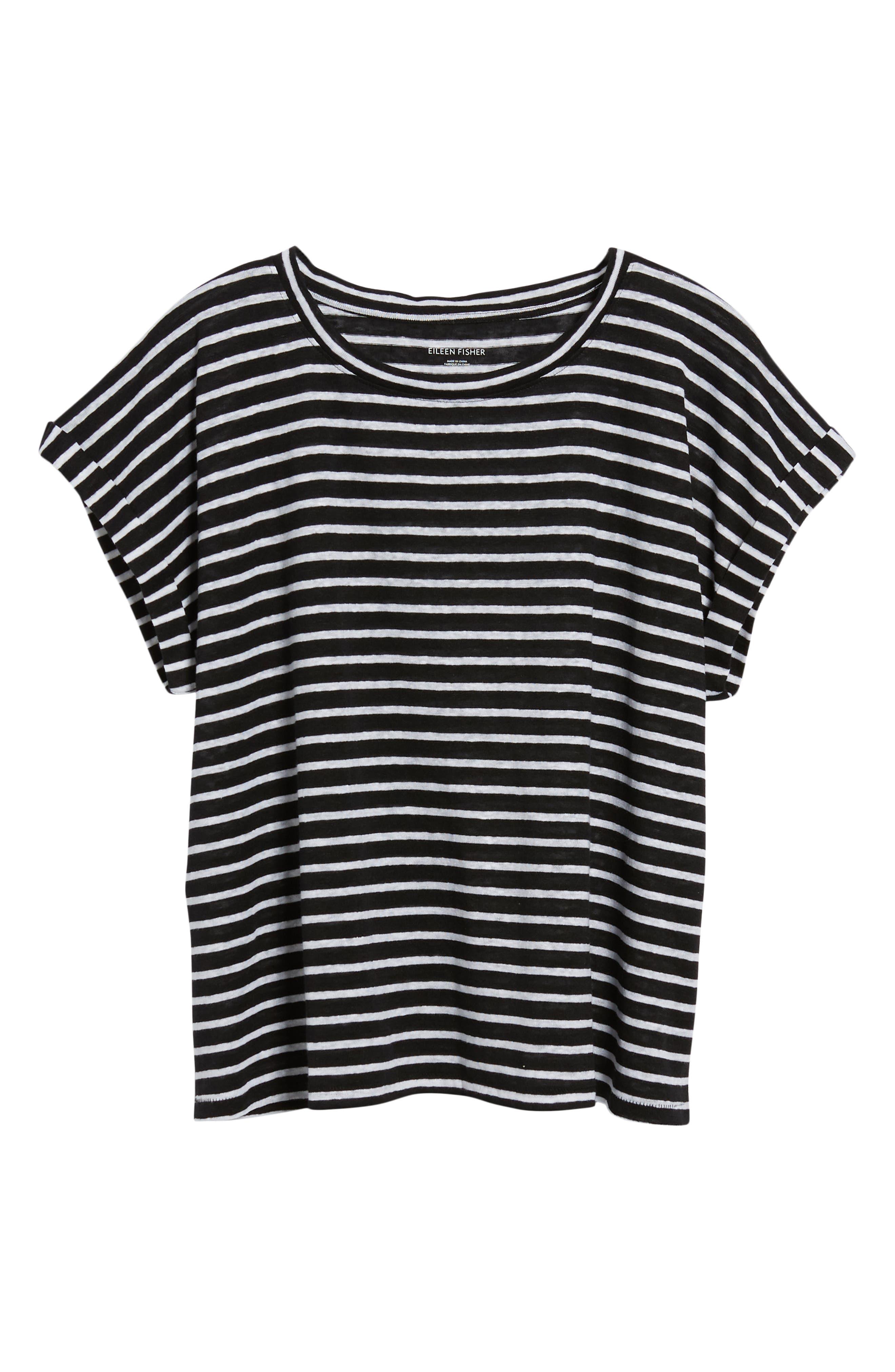 Stripe Boxy Organic Linen Top,                             Alternate thumbnail 6, color,                             Black/ White