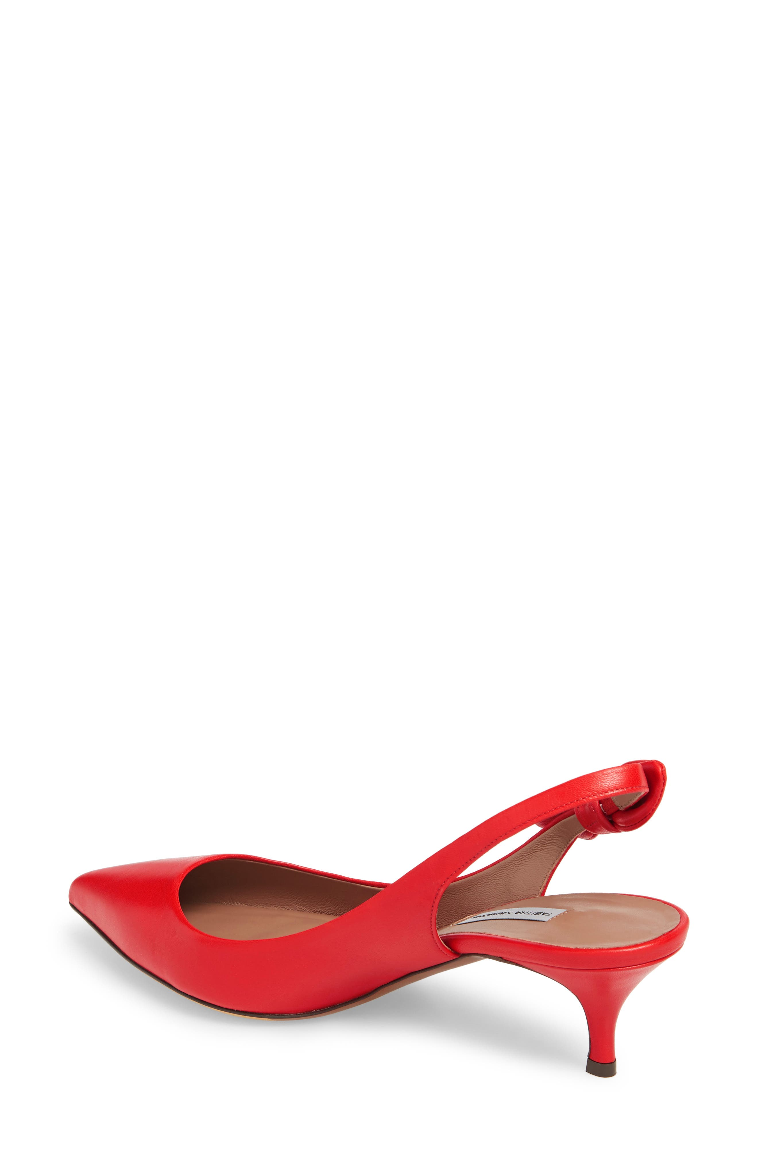 Rise Bow Slingback Pump,                             Alternate thumbnail 2, color,                             Red Leather